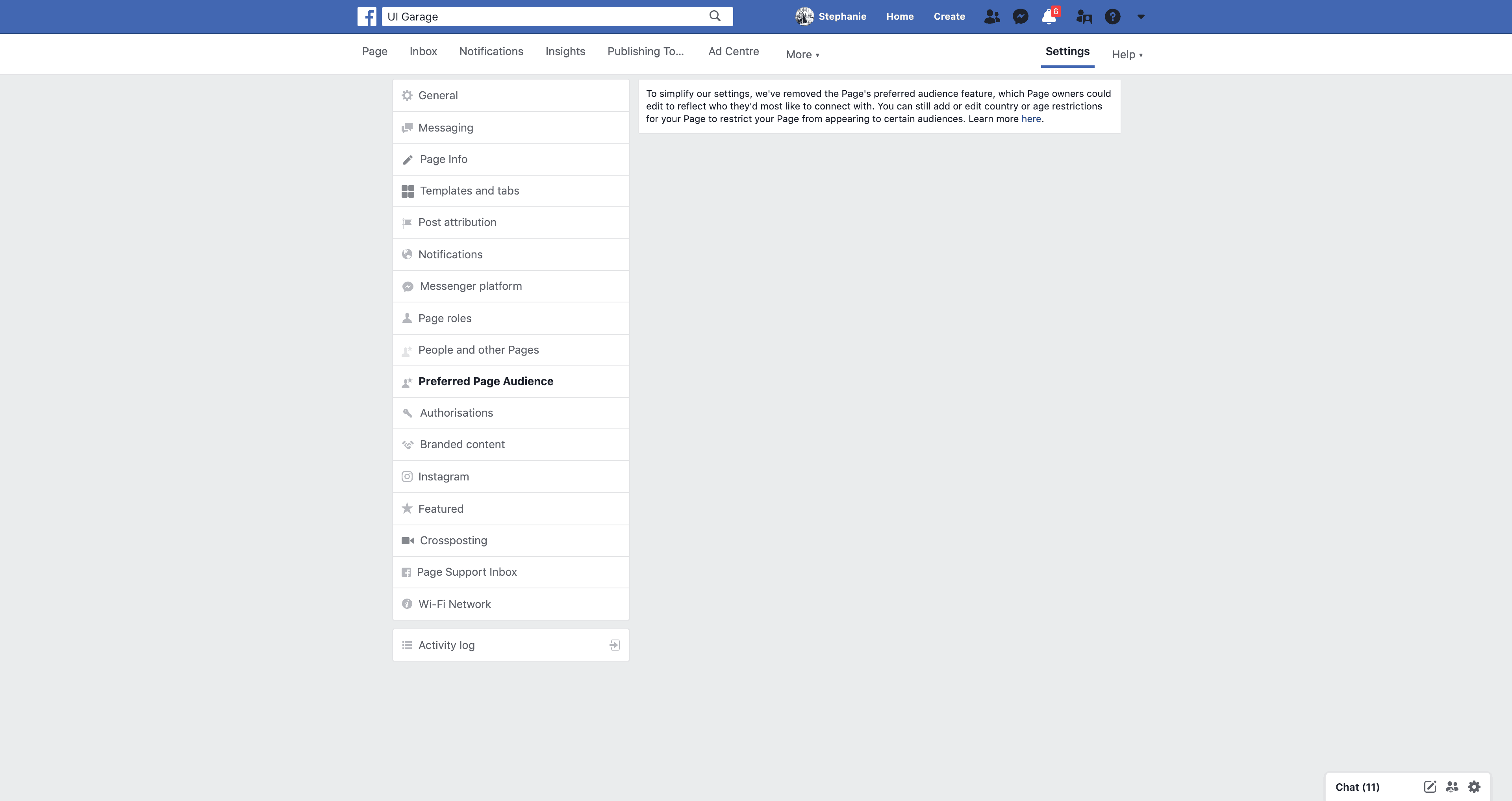 Page's Preferred Page Audience Settings by Facebook