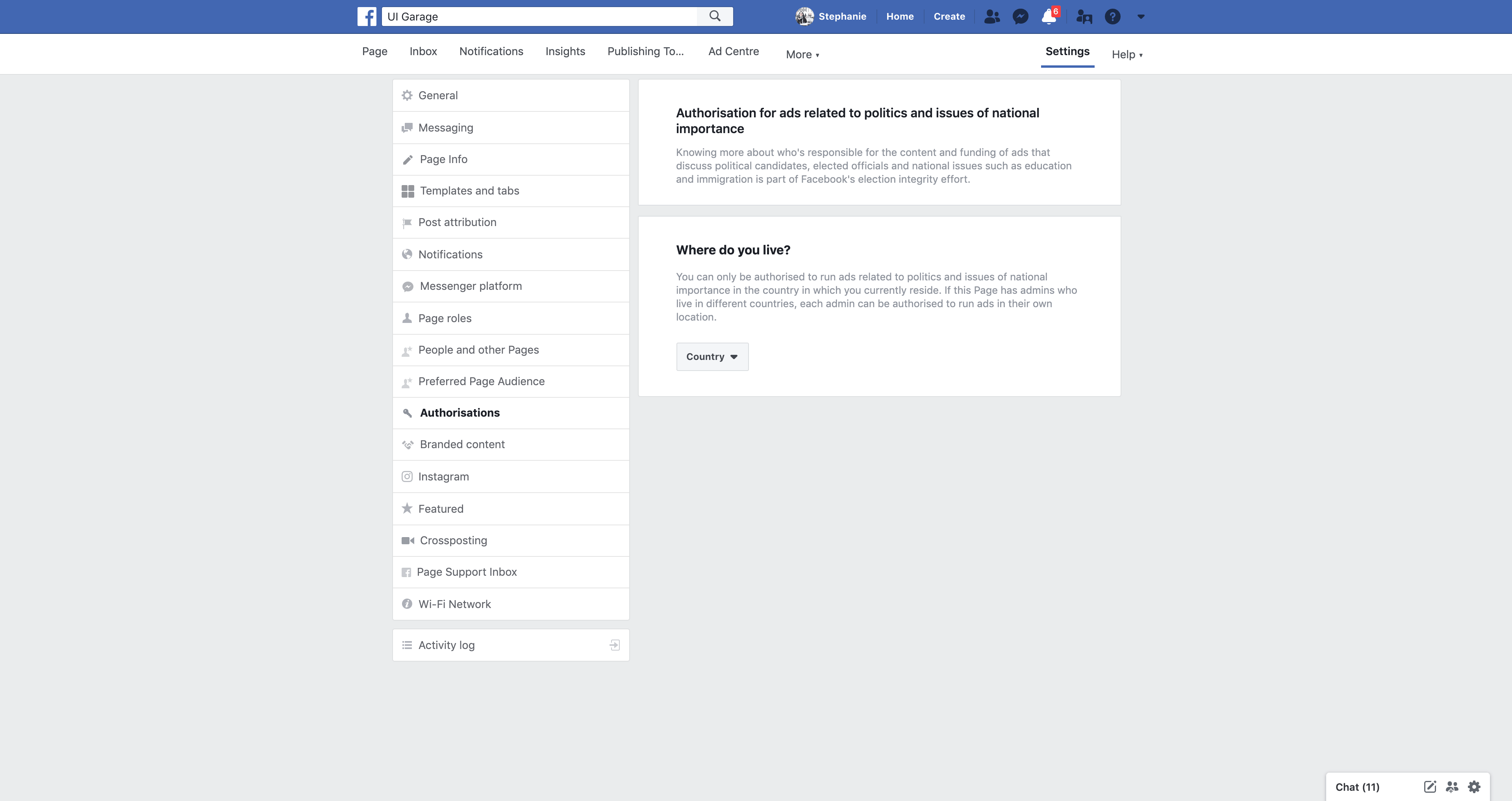 Page's Authorisations by Facebook