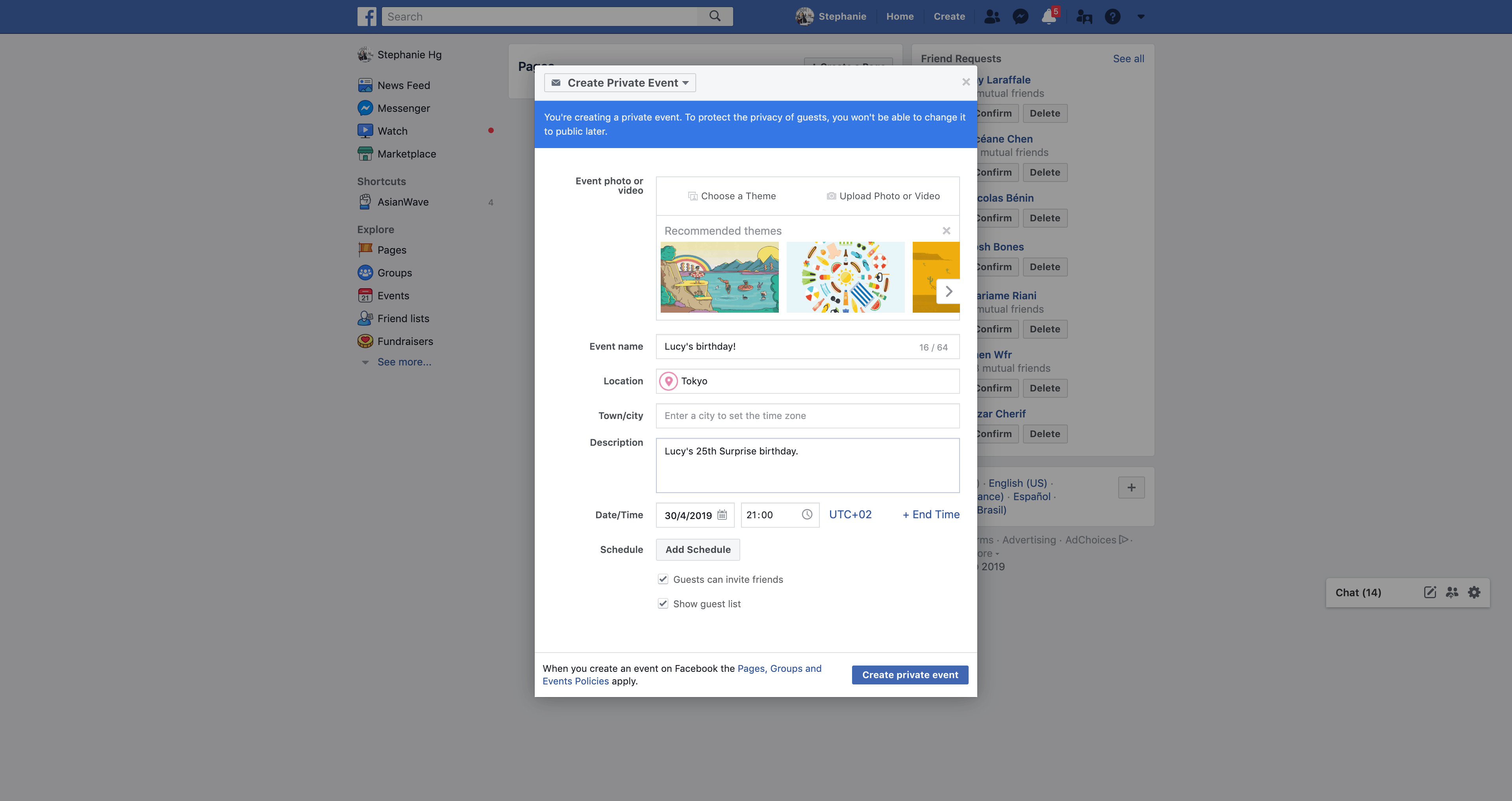 Create an event by Facebook
