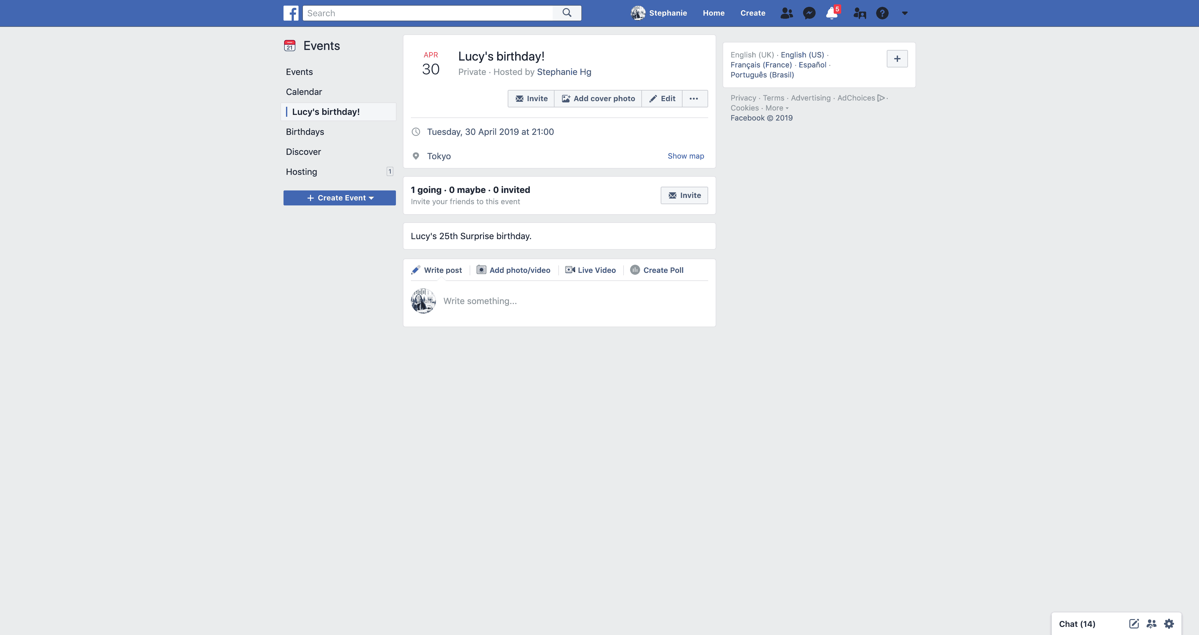 New Event's Page by Facebook