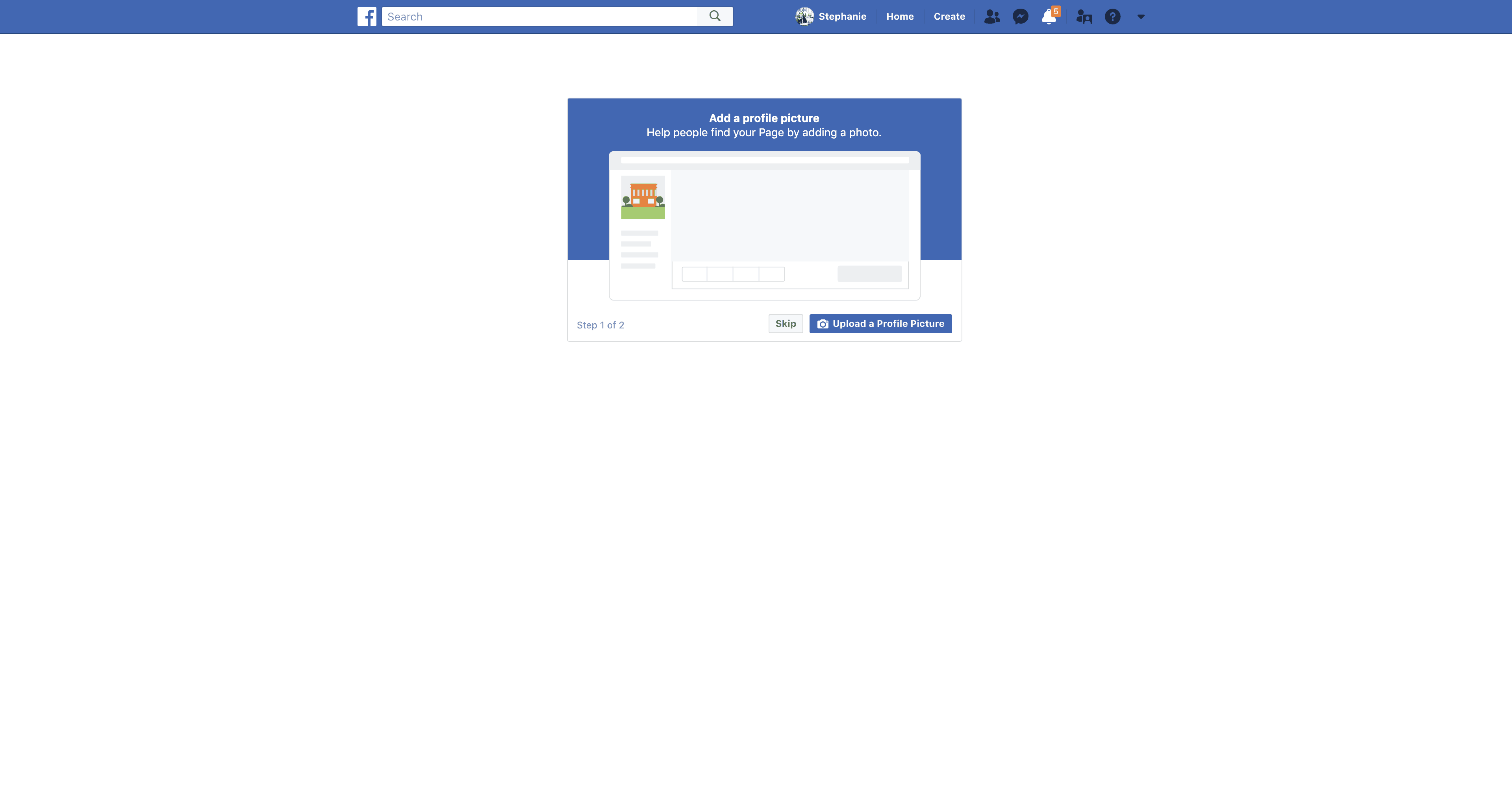 Add Profile Picture For New Page by Facebook