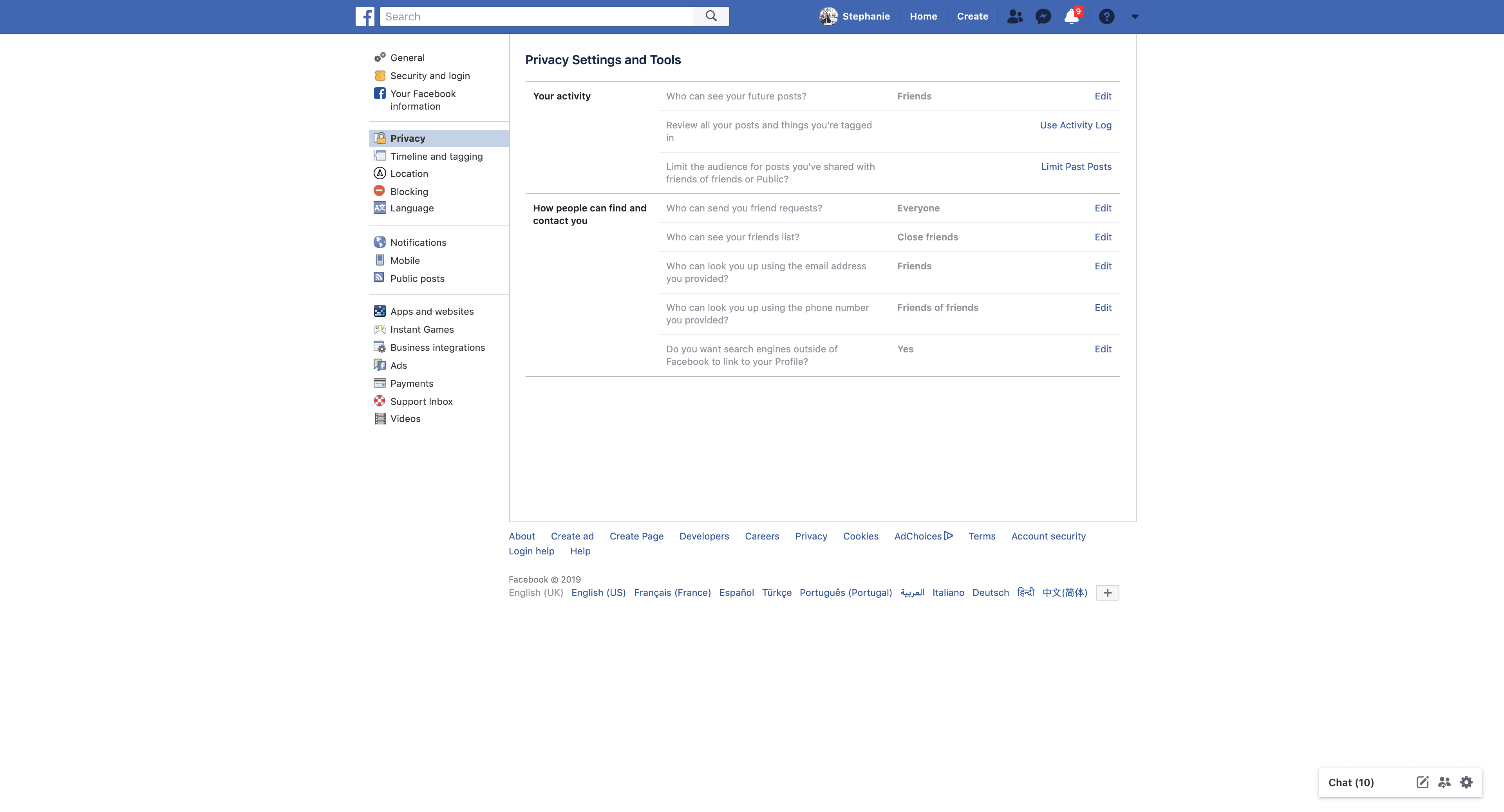 Privacy Settings by Facebook