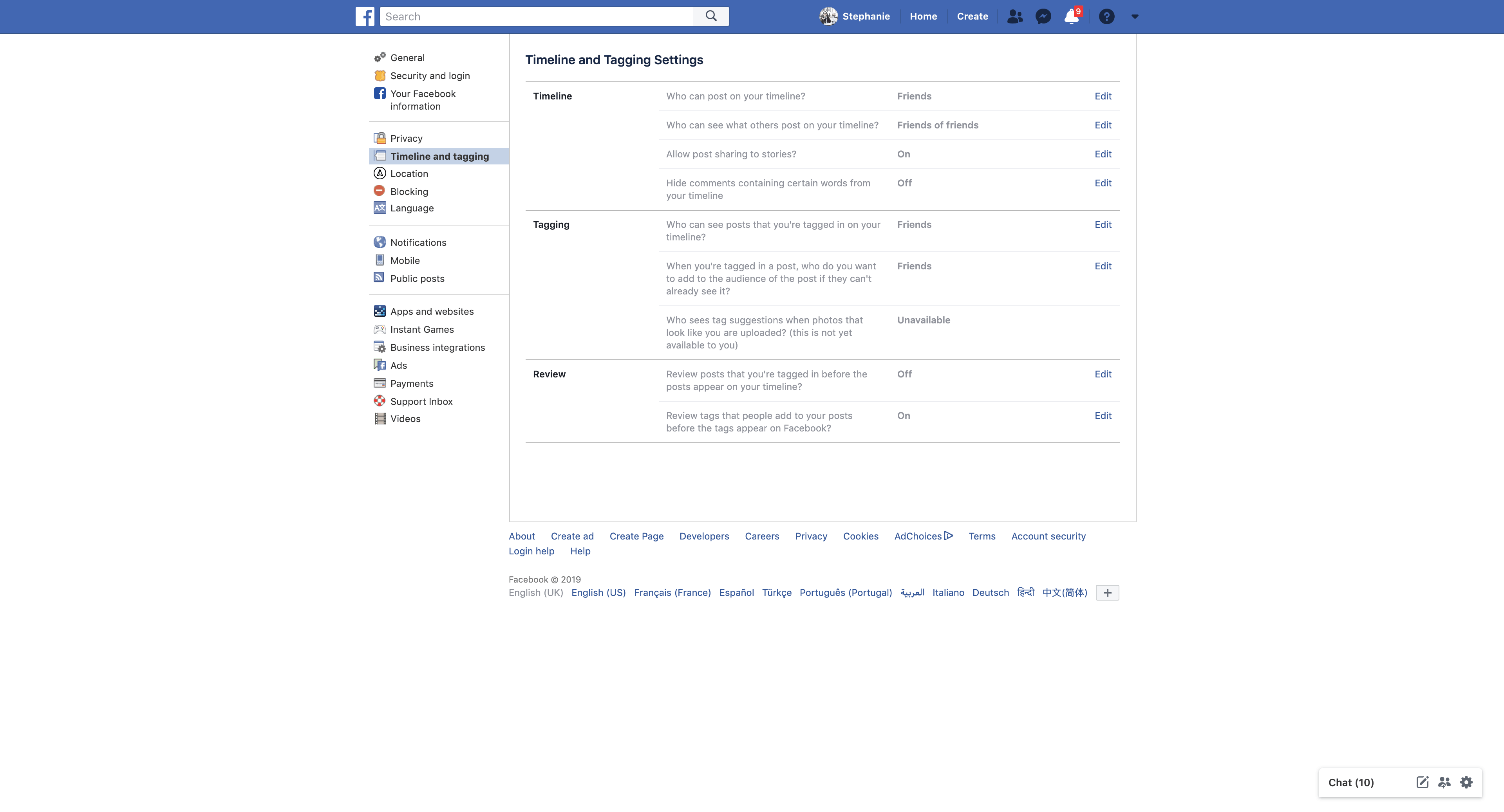 Timeline and Tagging by Facebook Settings  - UI Garage - The database of UI