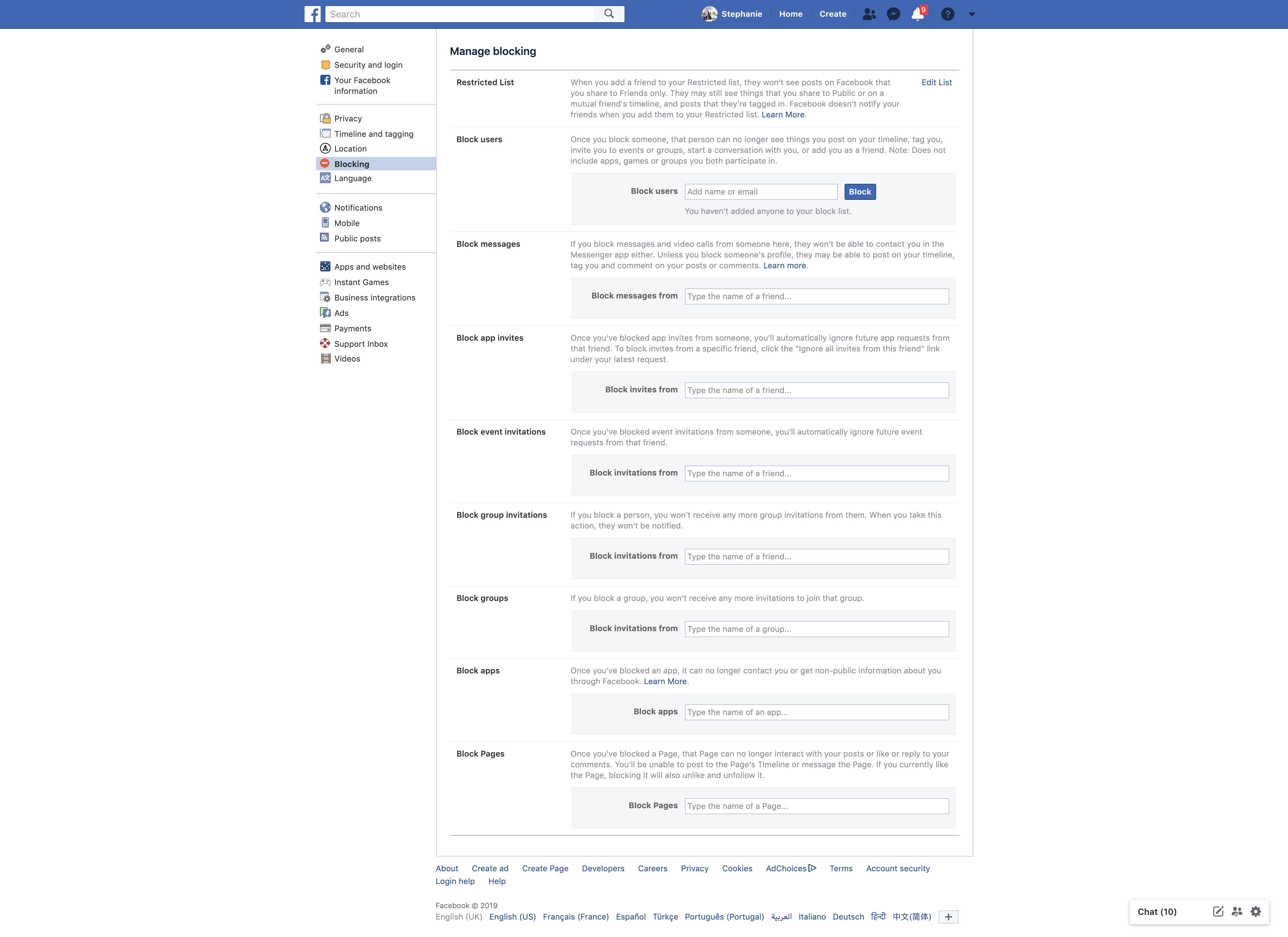 Manage Blocking by Facebook Settings  - UI Garage - The database of UI