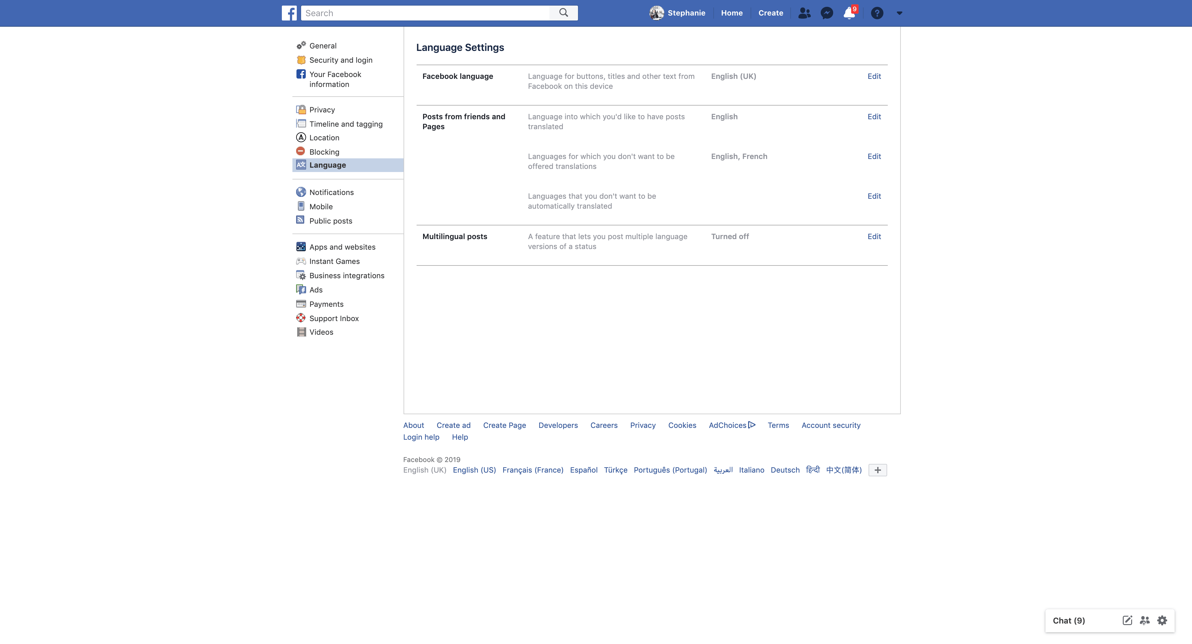 Language Setting by Facebook