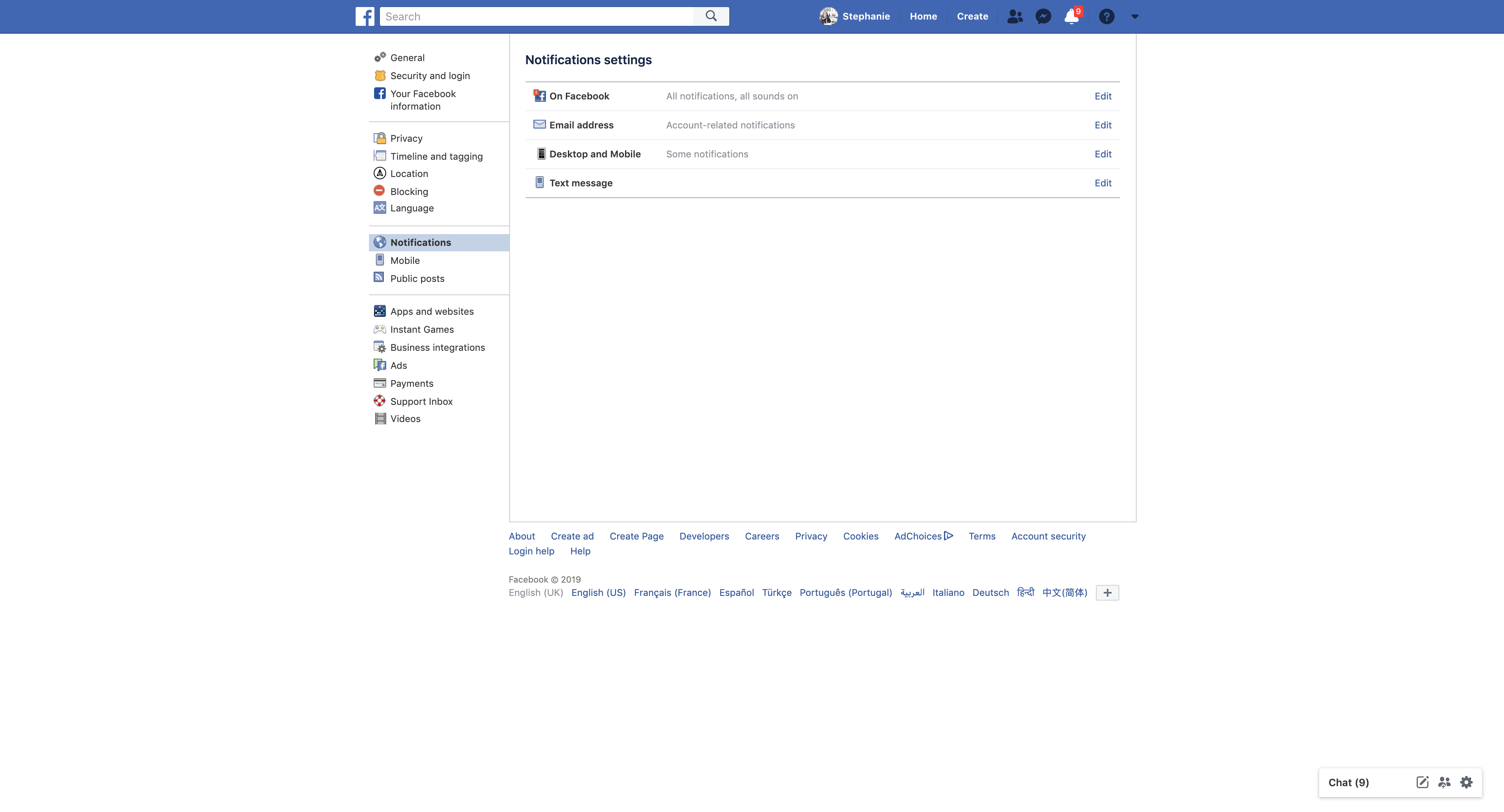 Notifications Settings by Facebook