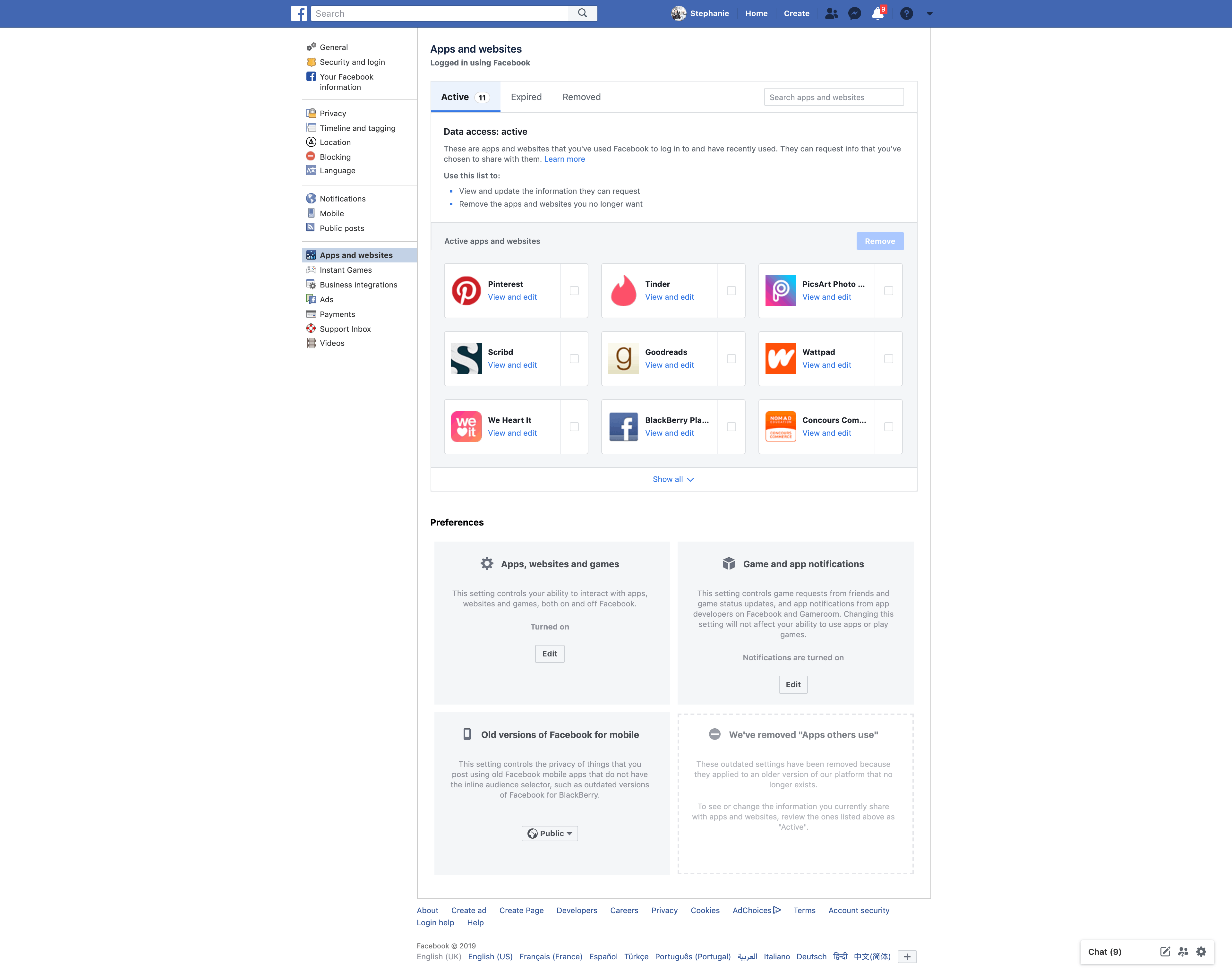 Apps and Websites Settings by Facebook Settings  - UI Garage - The database of UI