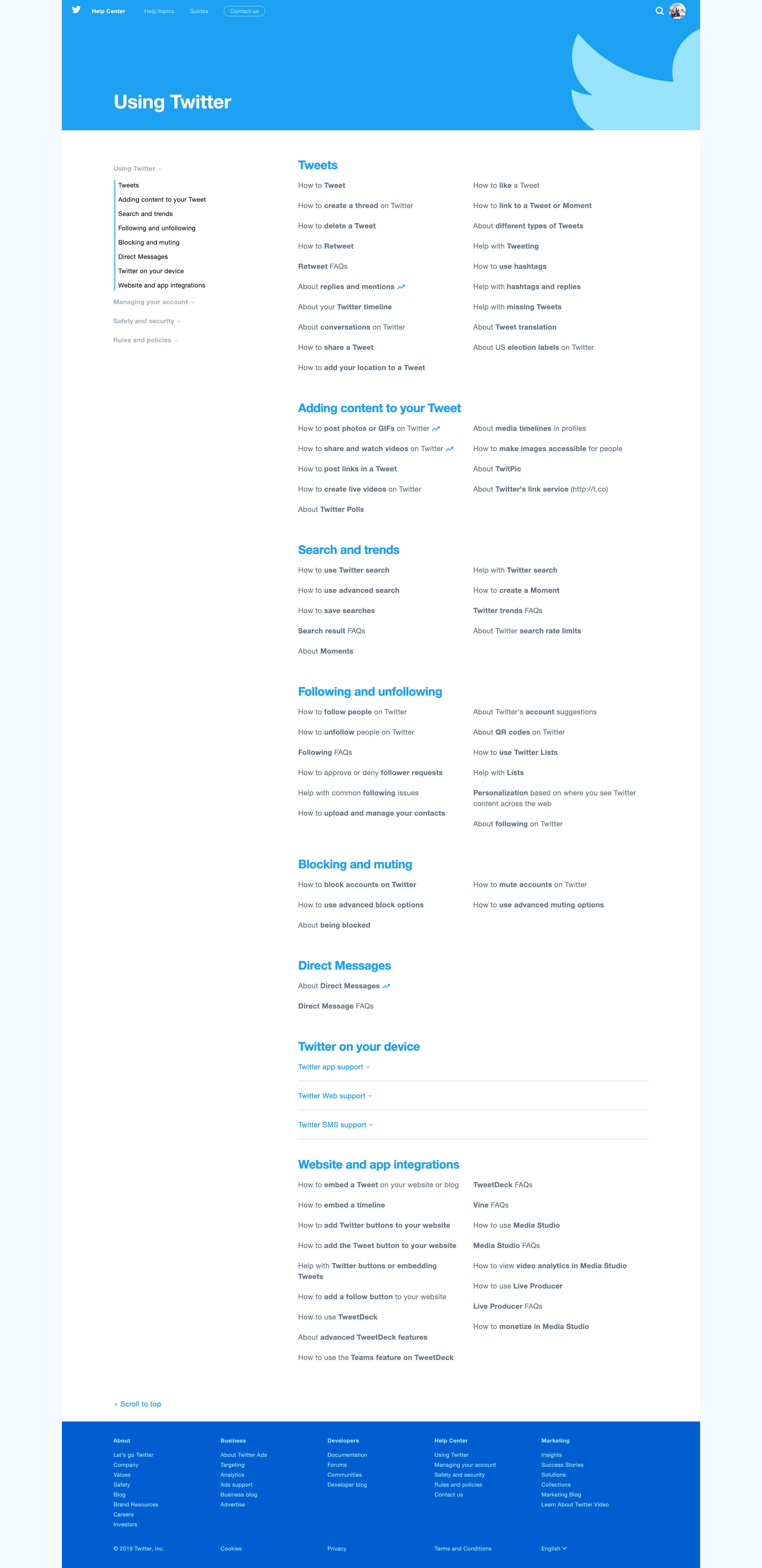 Using Twitter by Twitter Help Center Help Center  - UI Garage - The database of UI