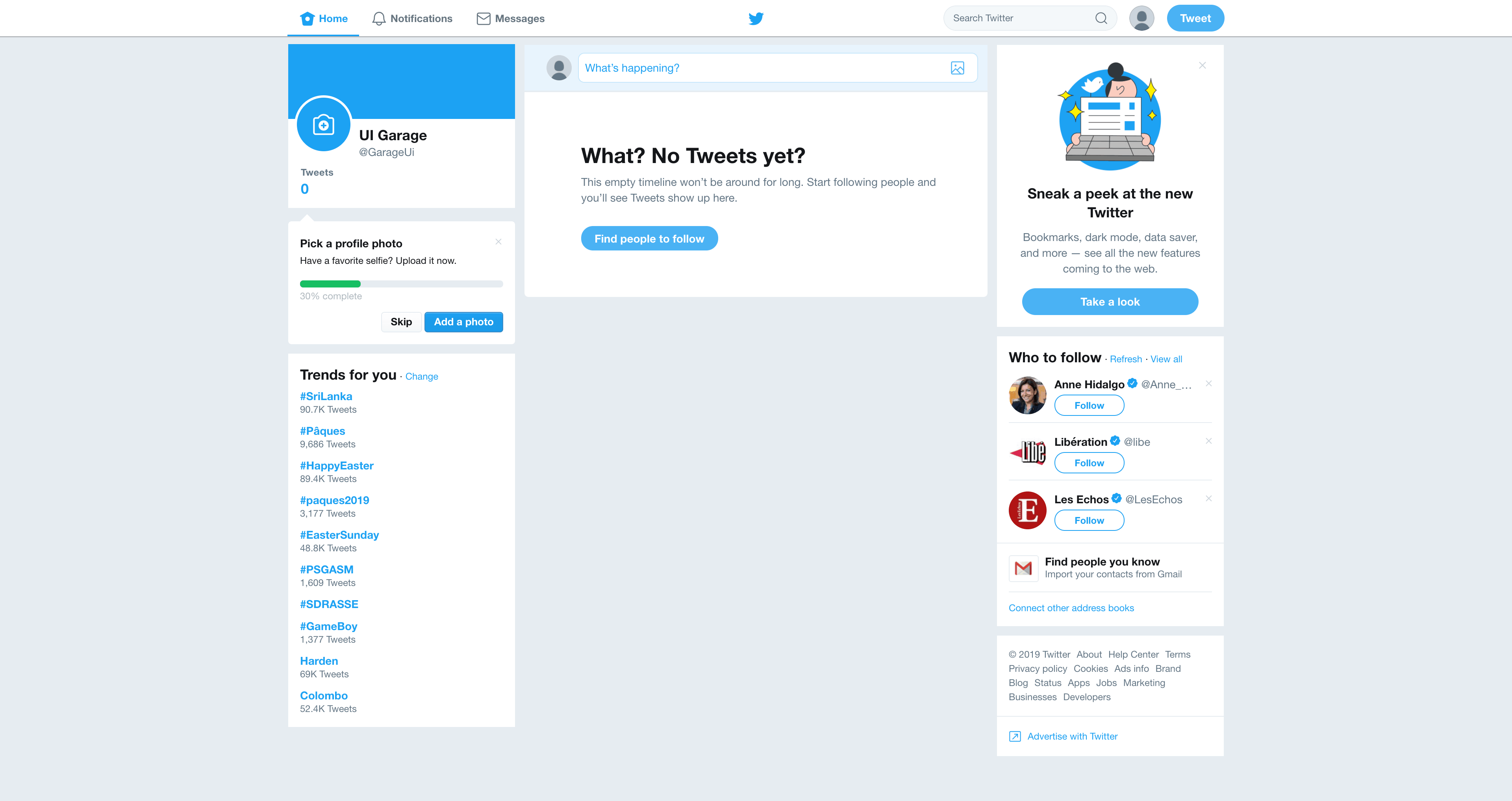 Home Page by Twitter from UIGarage
