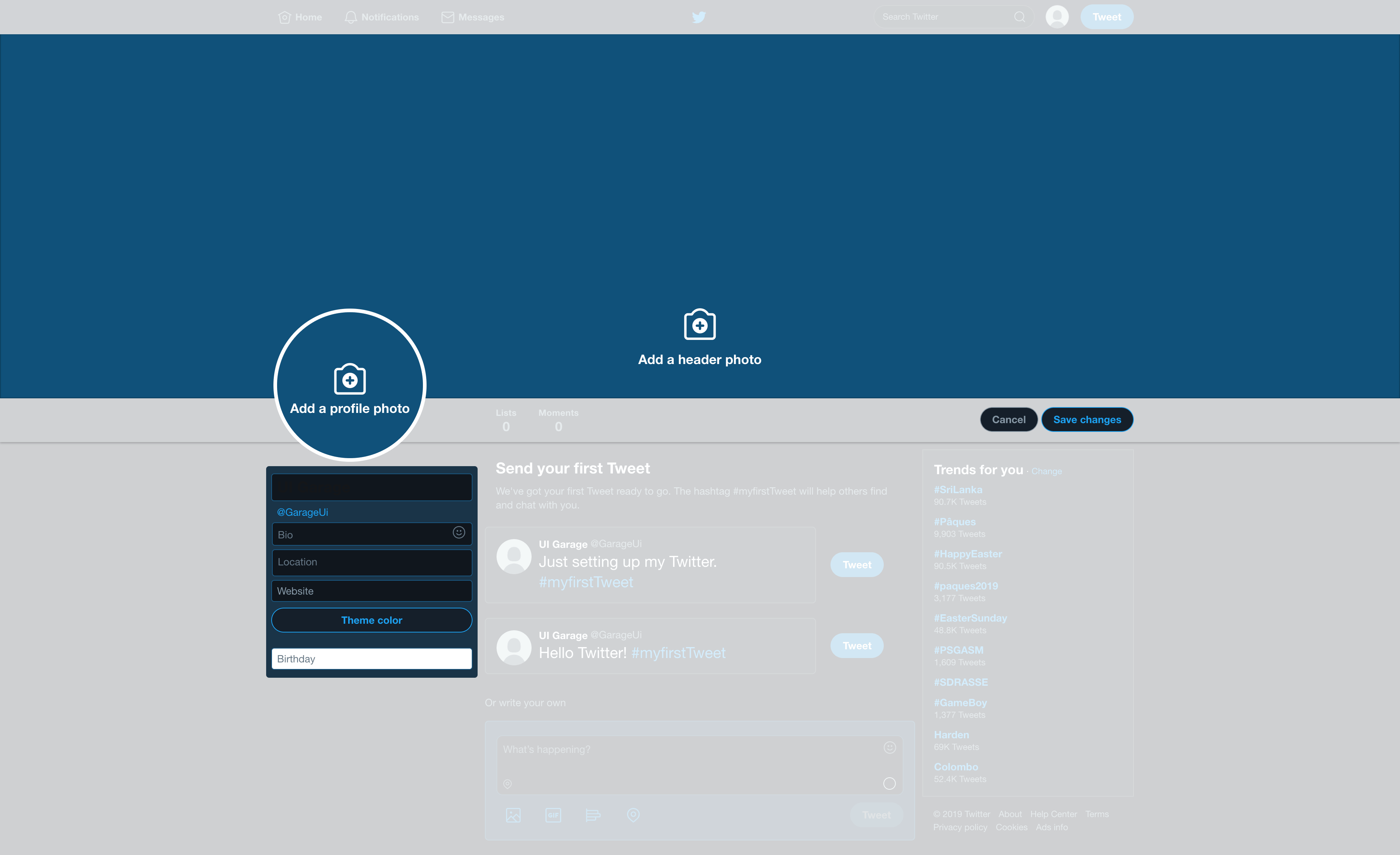 Edit profile by Twitter