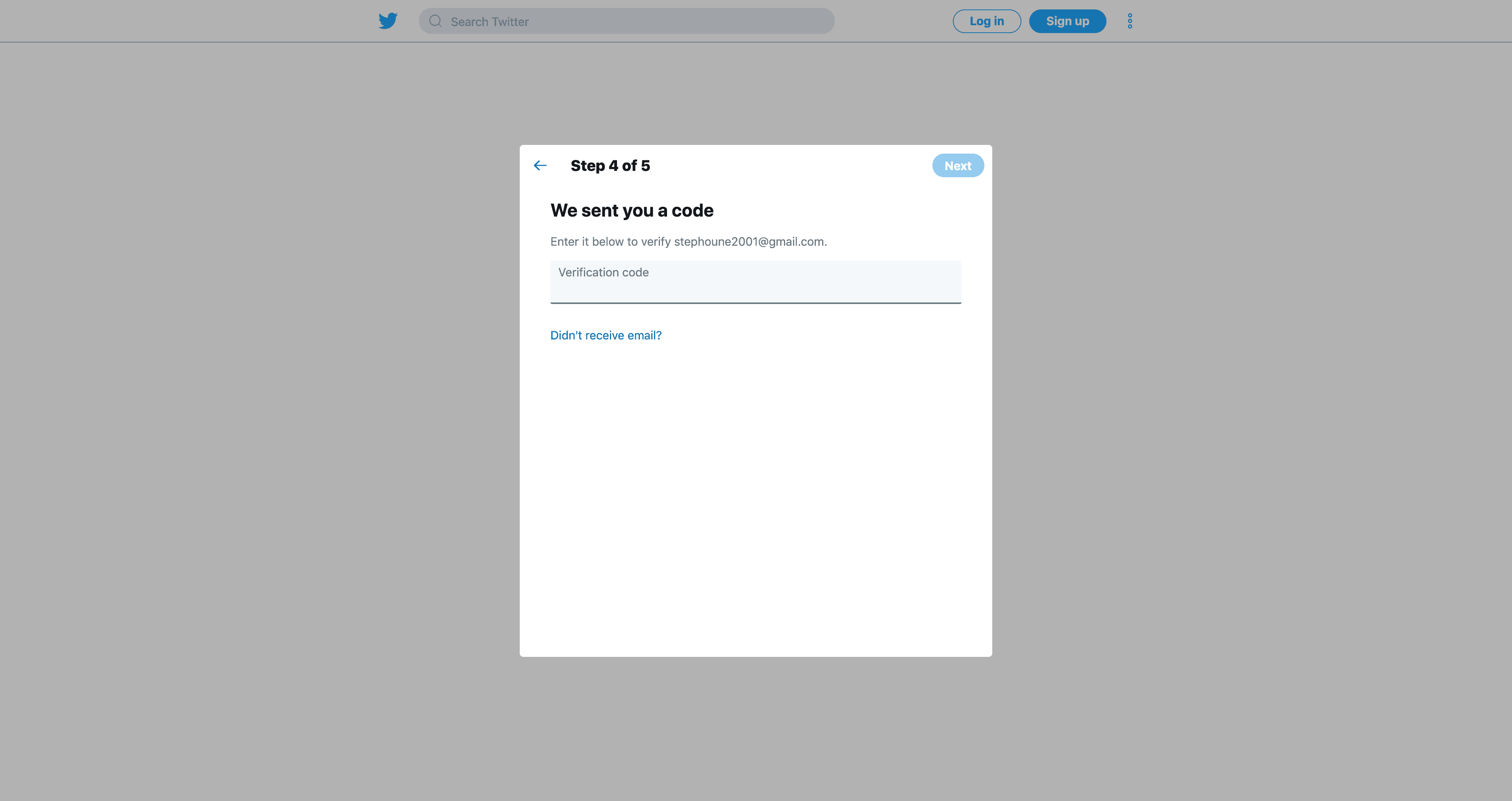 Create an account (Step 4) by Twitter