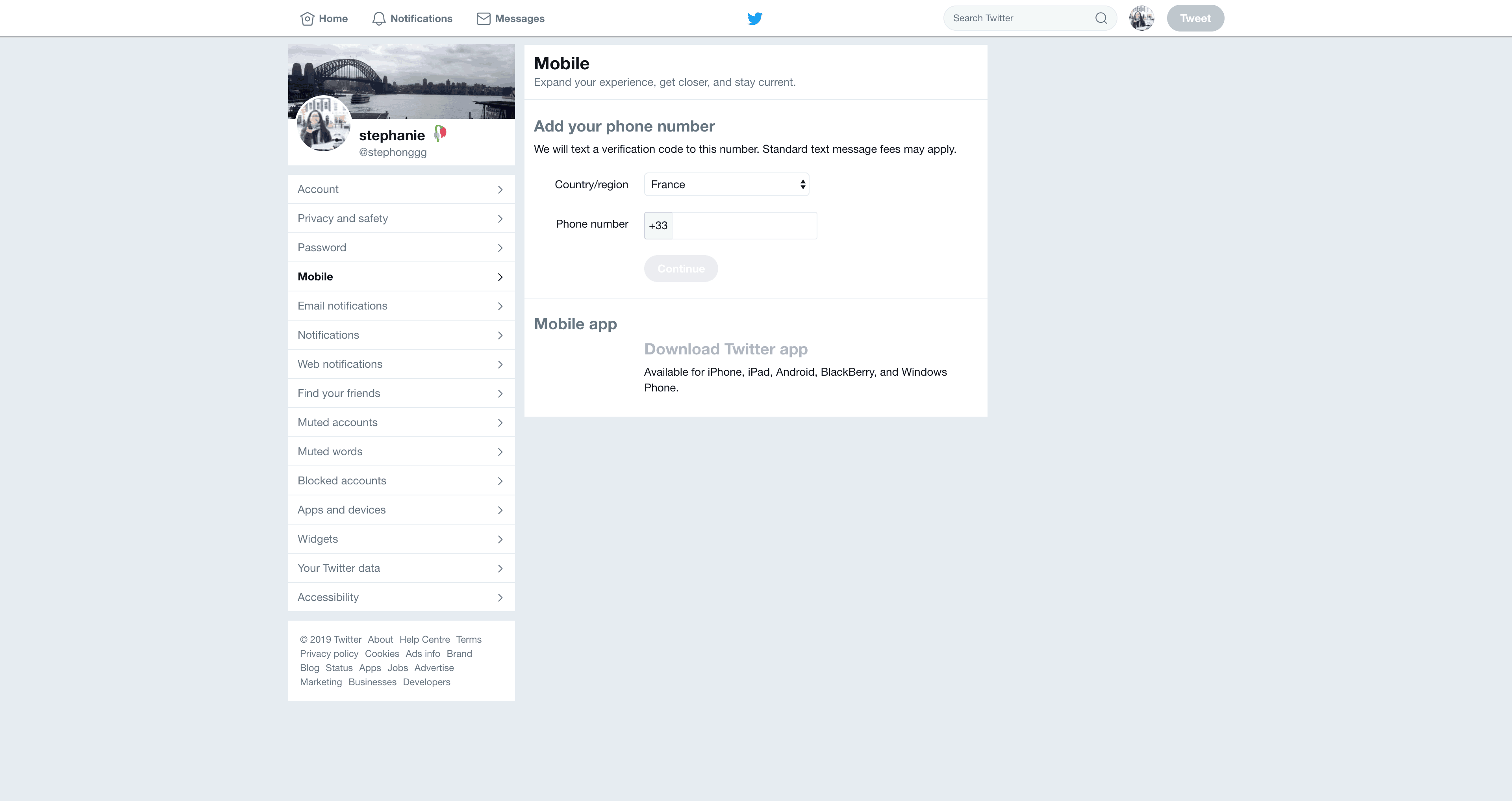 Mobile Settings by Twitter from UIGarage