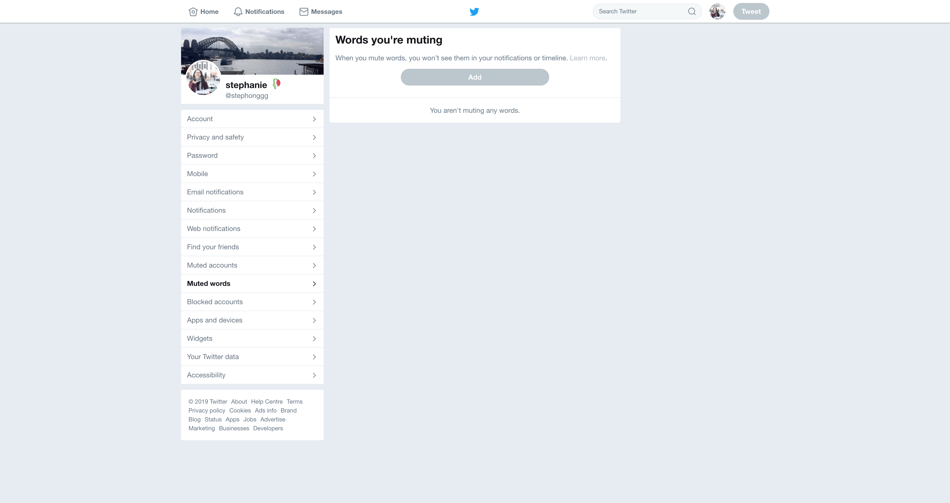 Muted words Settings by Twitter
