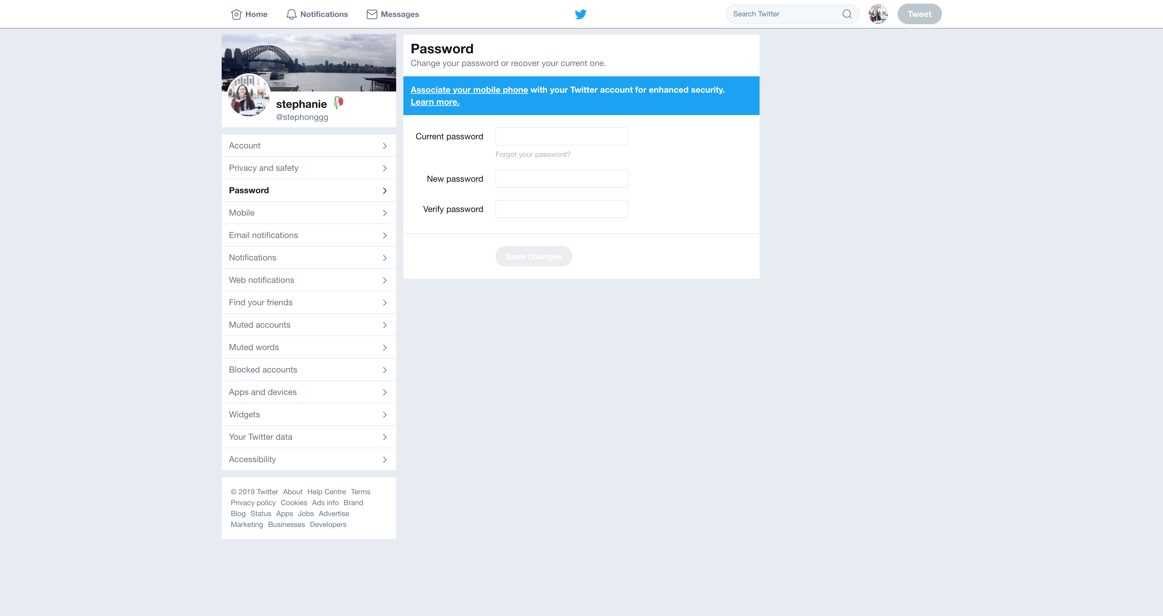 Password Settings by Twitter