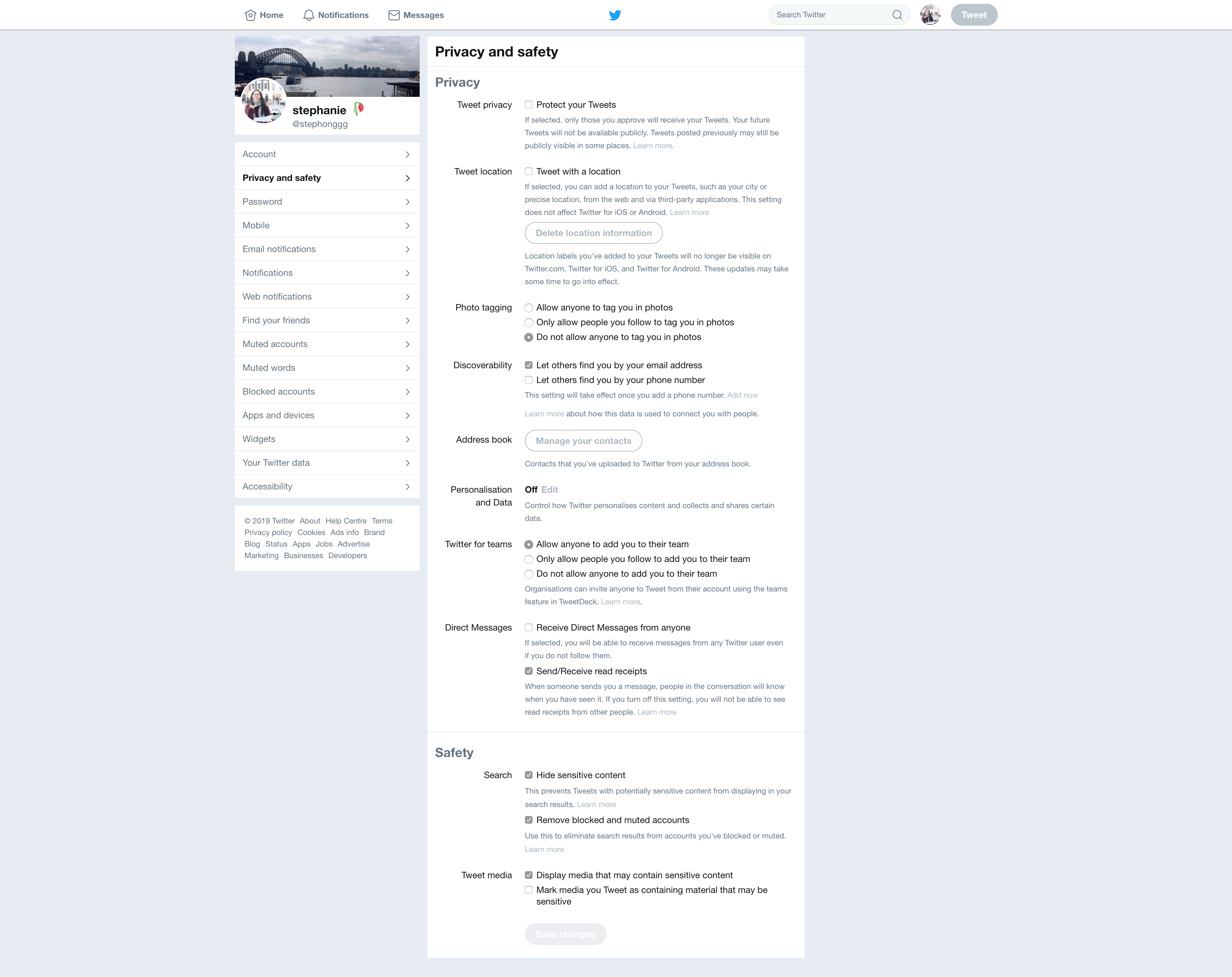 Privacy and Safety Settings by Twitter from UIGarage