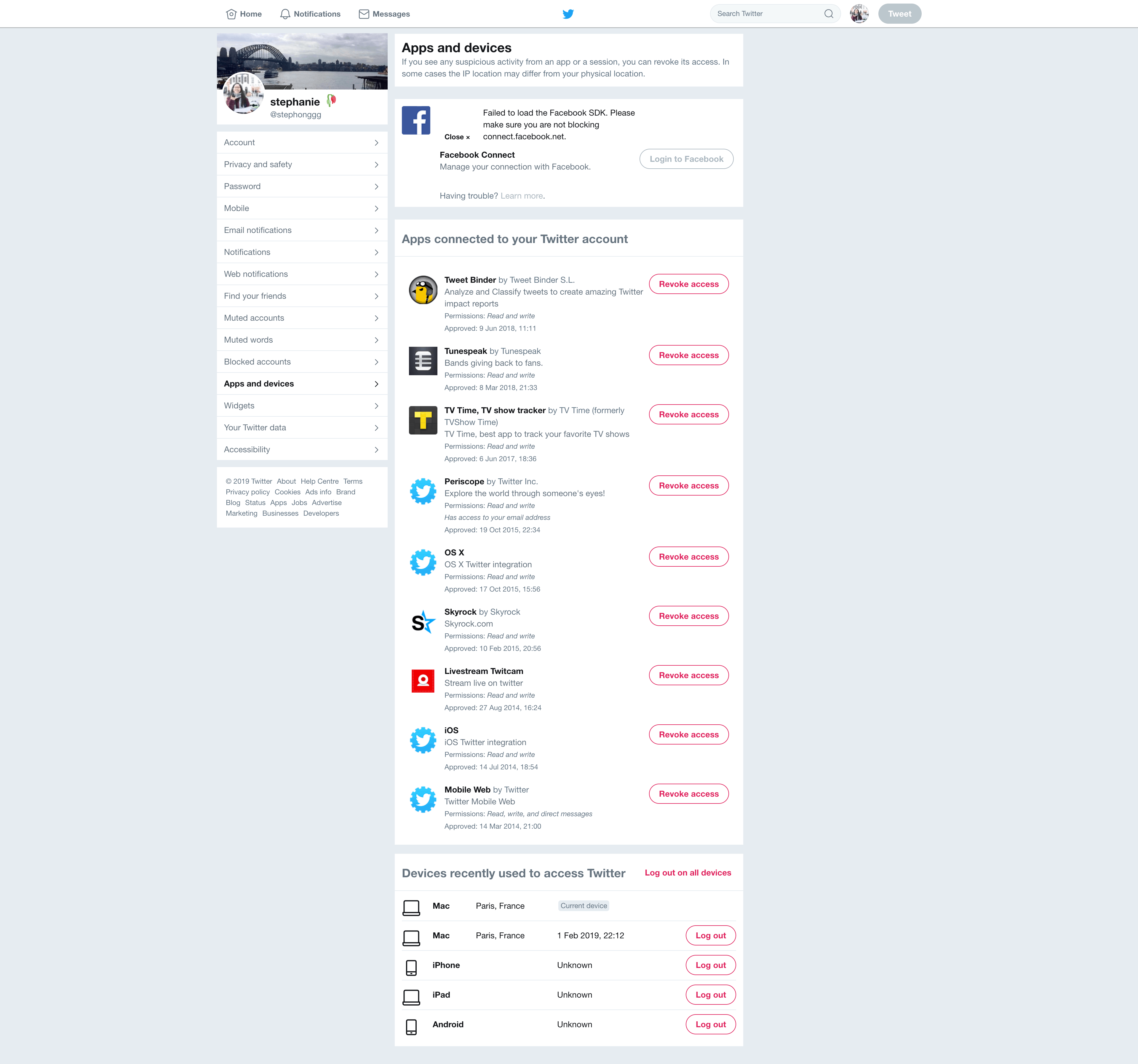 Apps and Devices Settings by Twitter