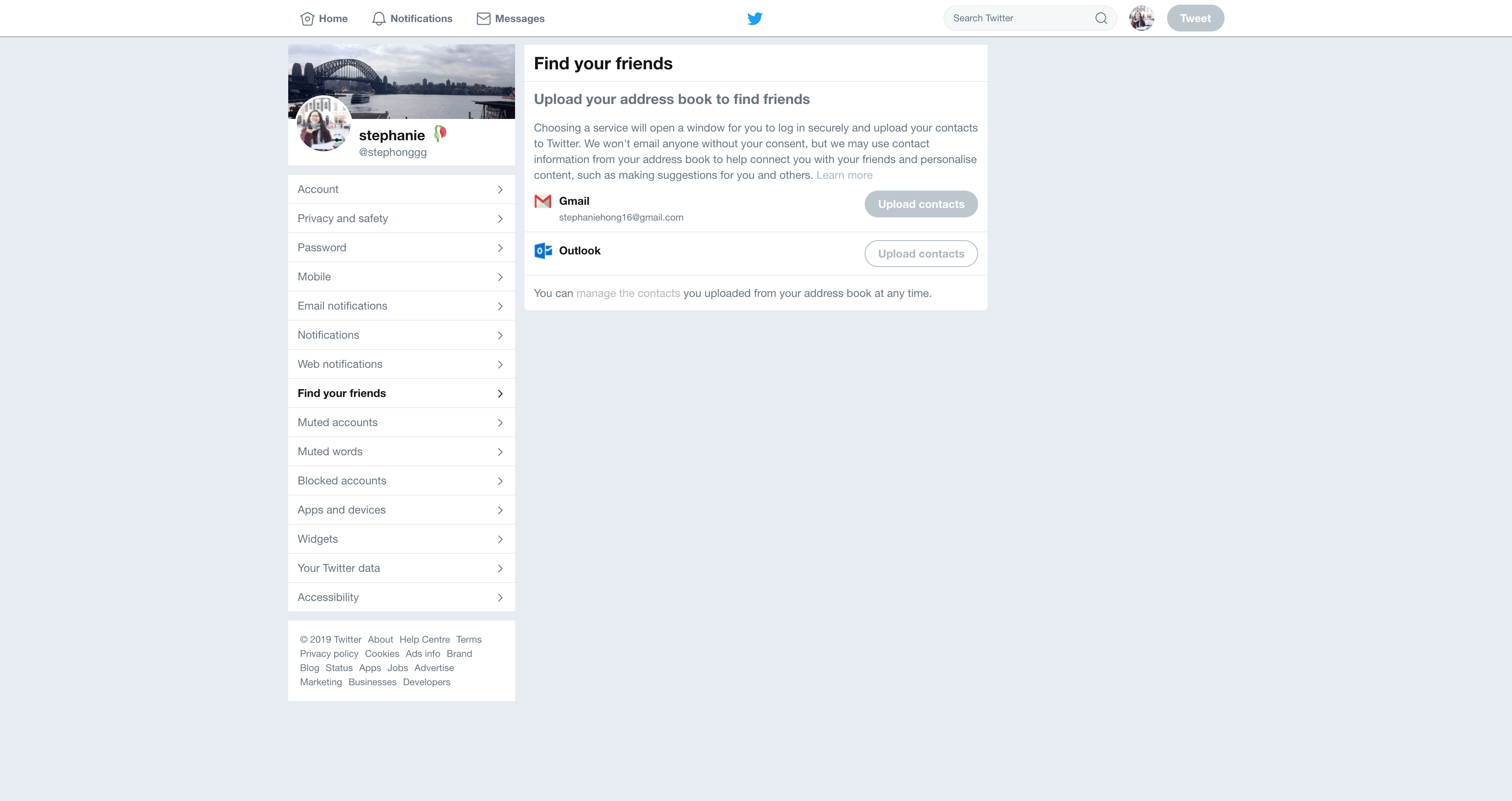 Friends Finding Settings by Twitter