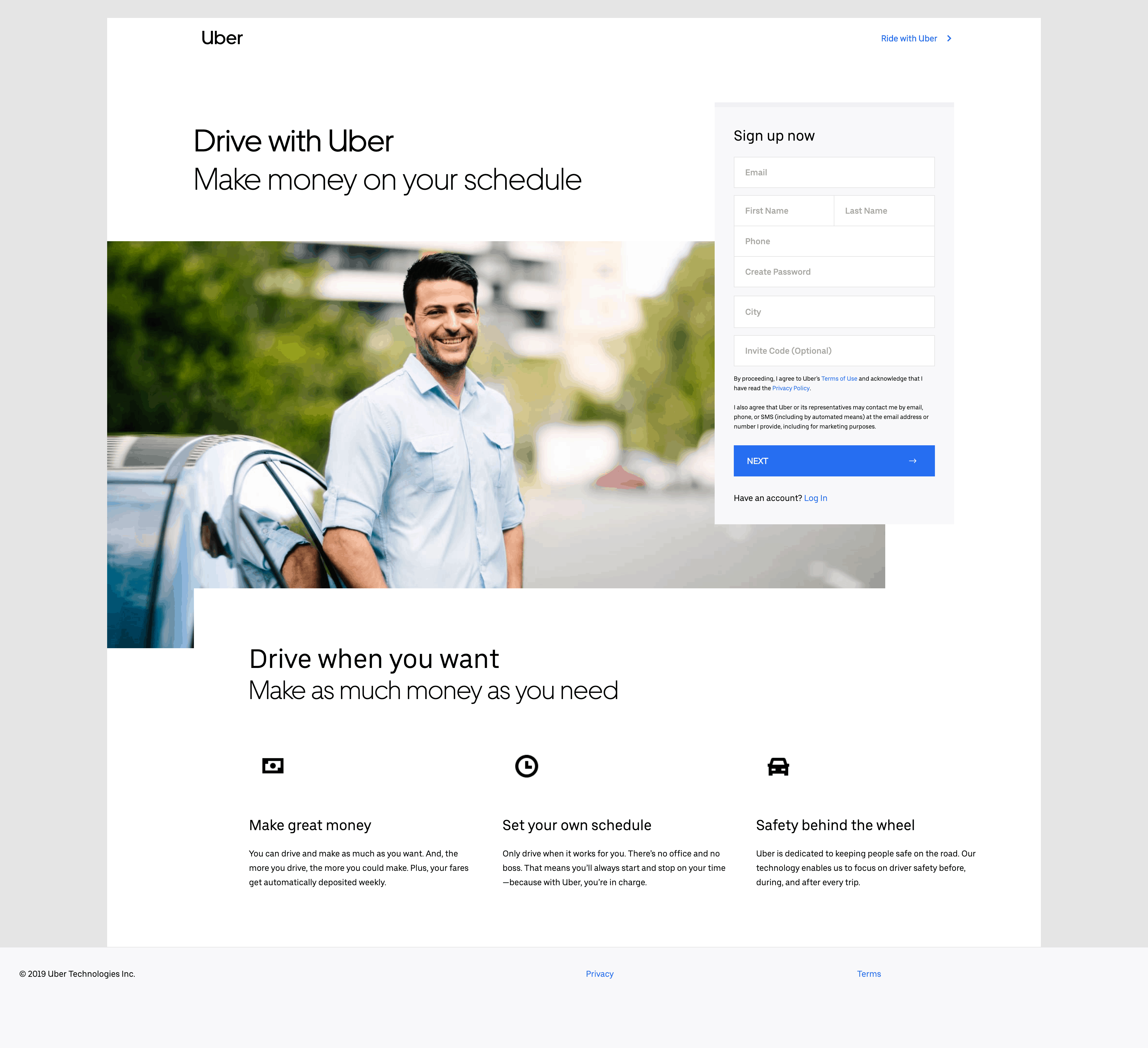 Sign Up by Uber from UIGarage