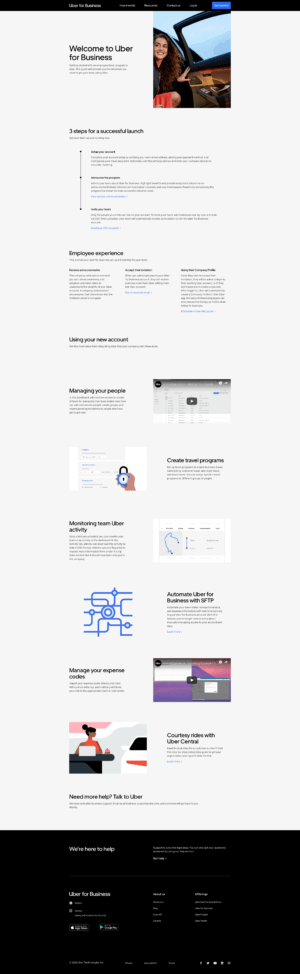 Homepage by Uber for Business from UIGarage
