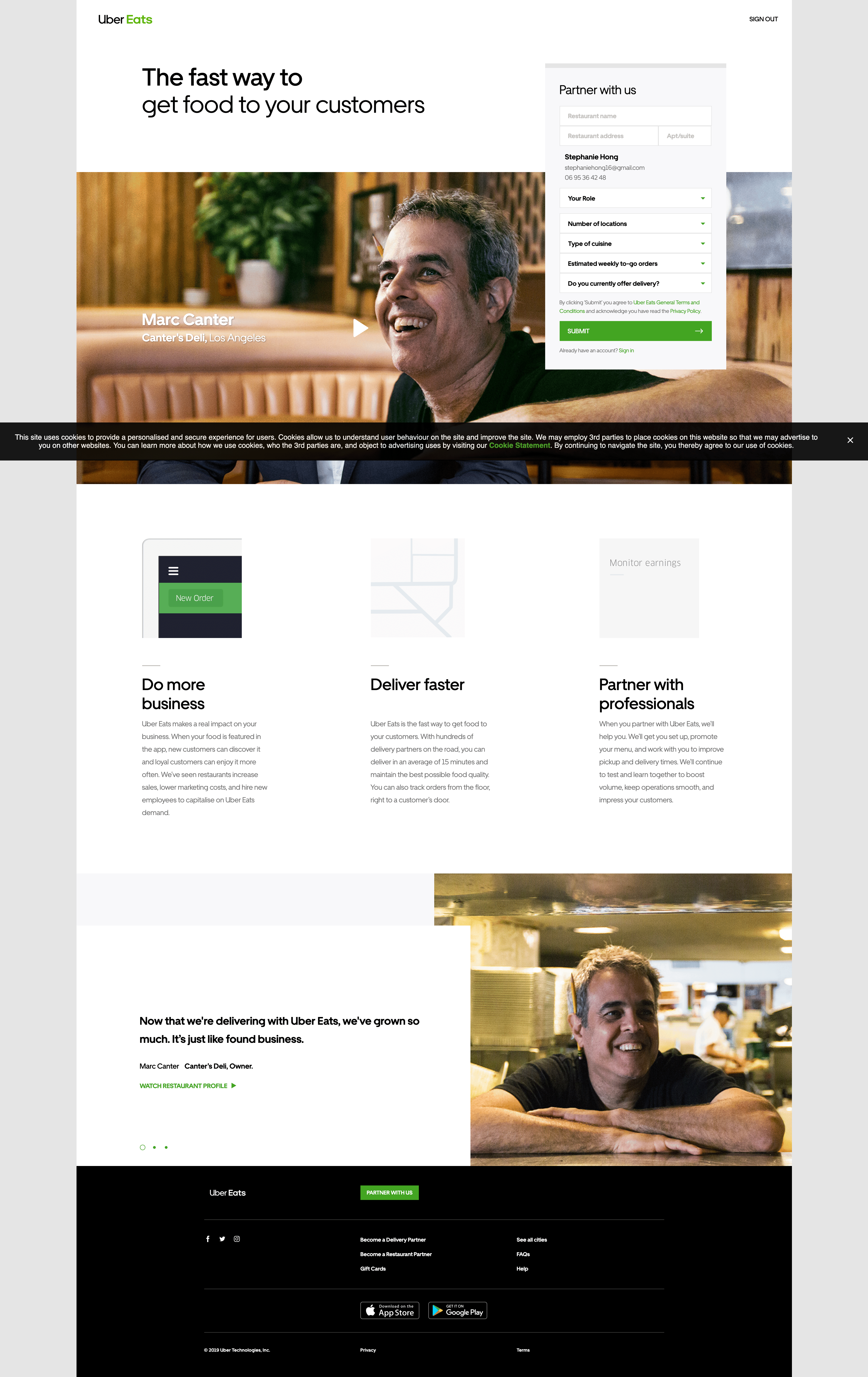Partner With Us by Uber Eats About Us Activity Web  - UI Garage - The database of UI