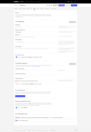 Forms settings on Webflow from UIGarage