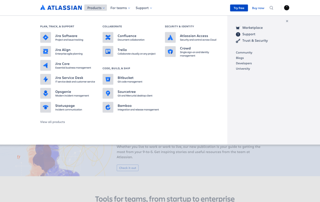 Menu by Atlassian from UIGarage