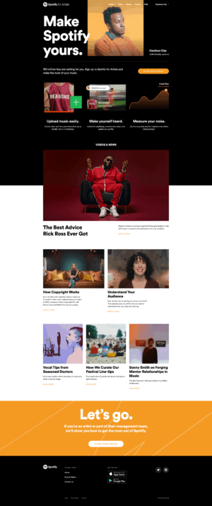 Homepage by Spotify for Artists from UIGarage