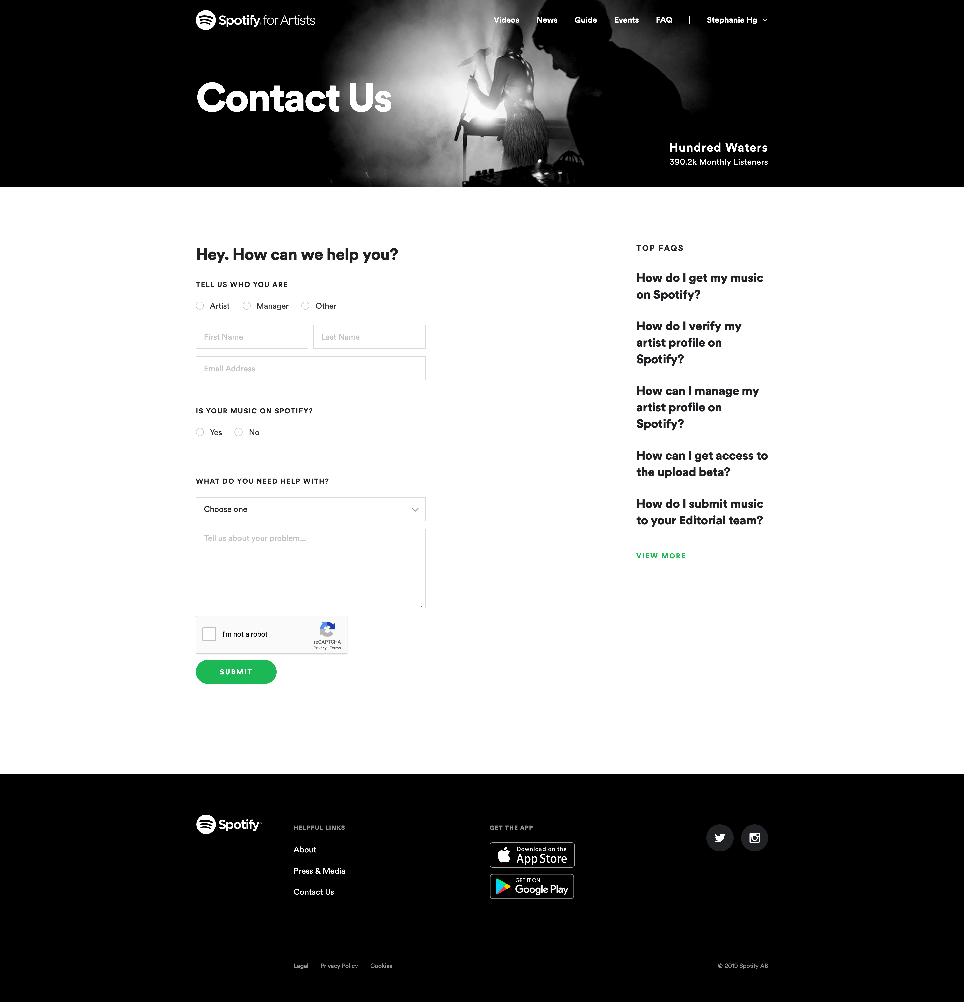Contact Us by Spotify for Artists