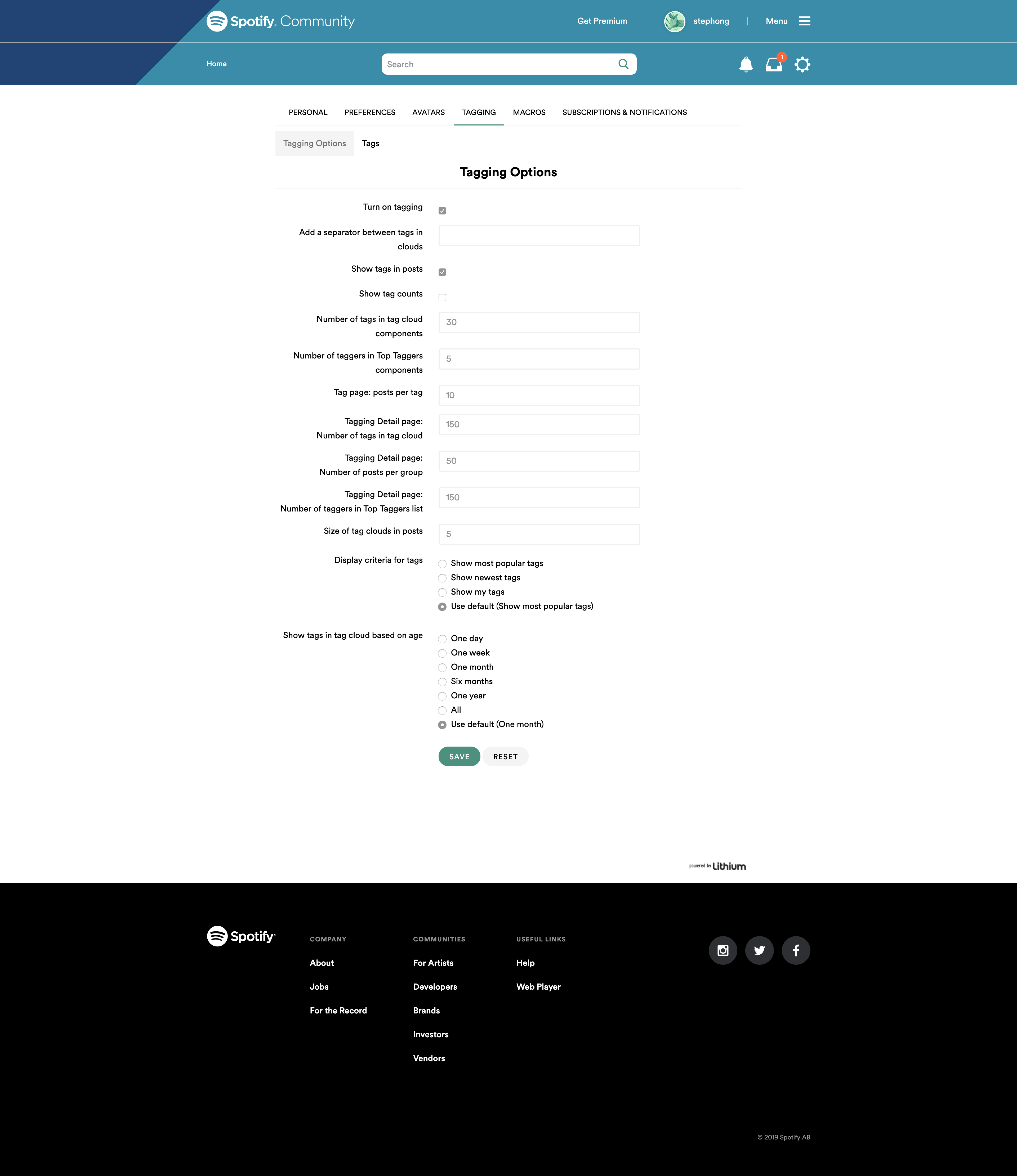 Tagging Options by Spotify Community