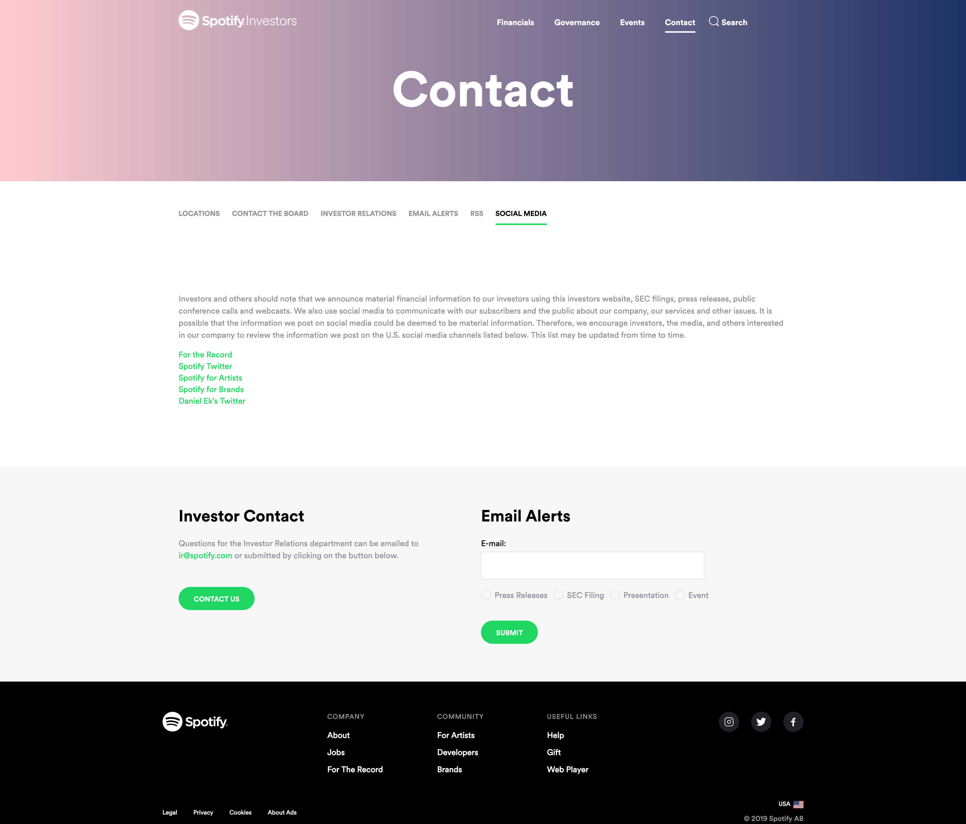 Social Media Contact by Spotify Inverstors