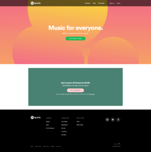 Spotify Home Page from UIGarage