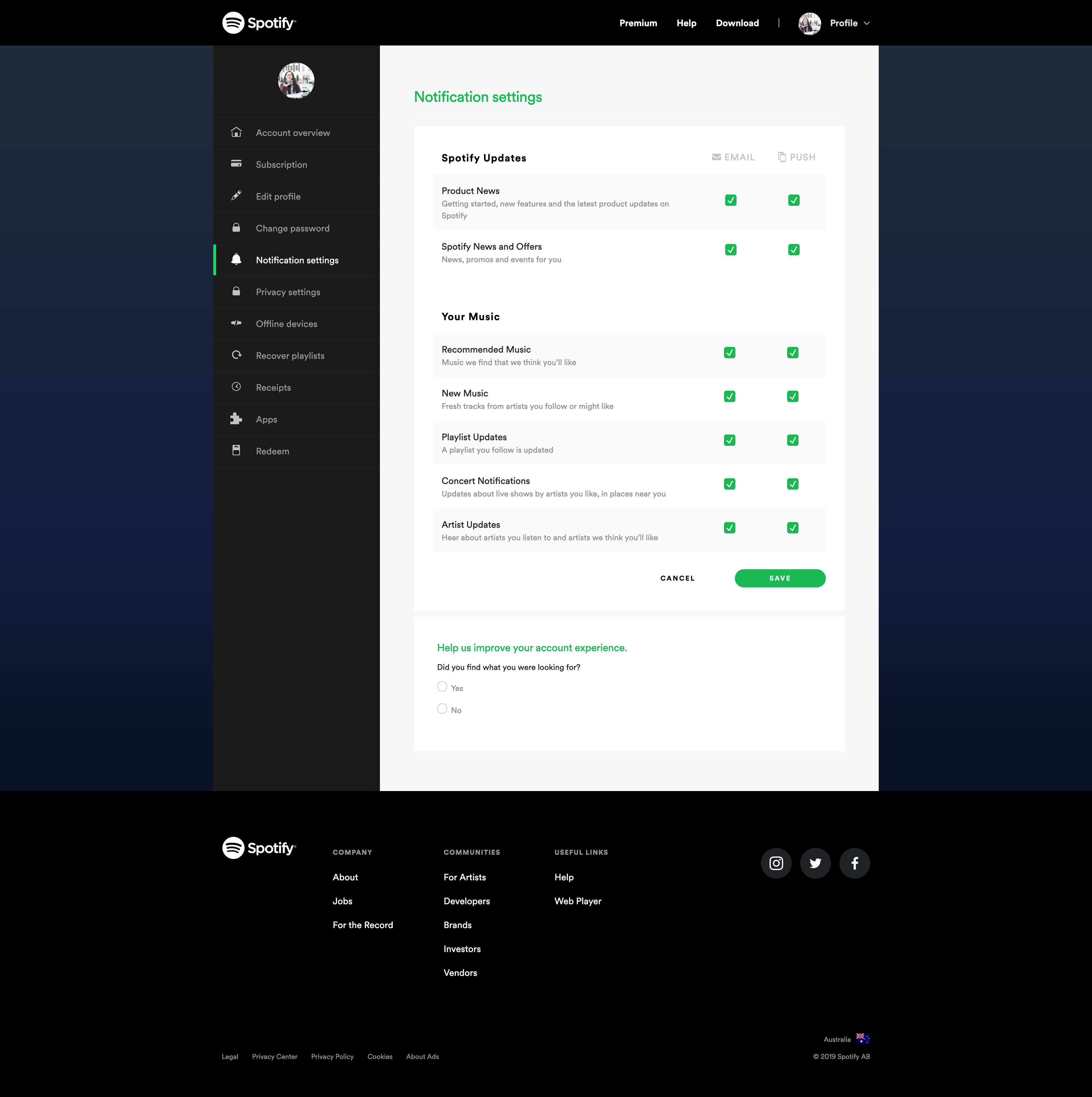 Notification Settings by Spotify
