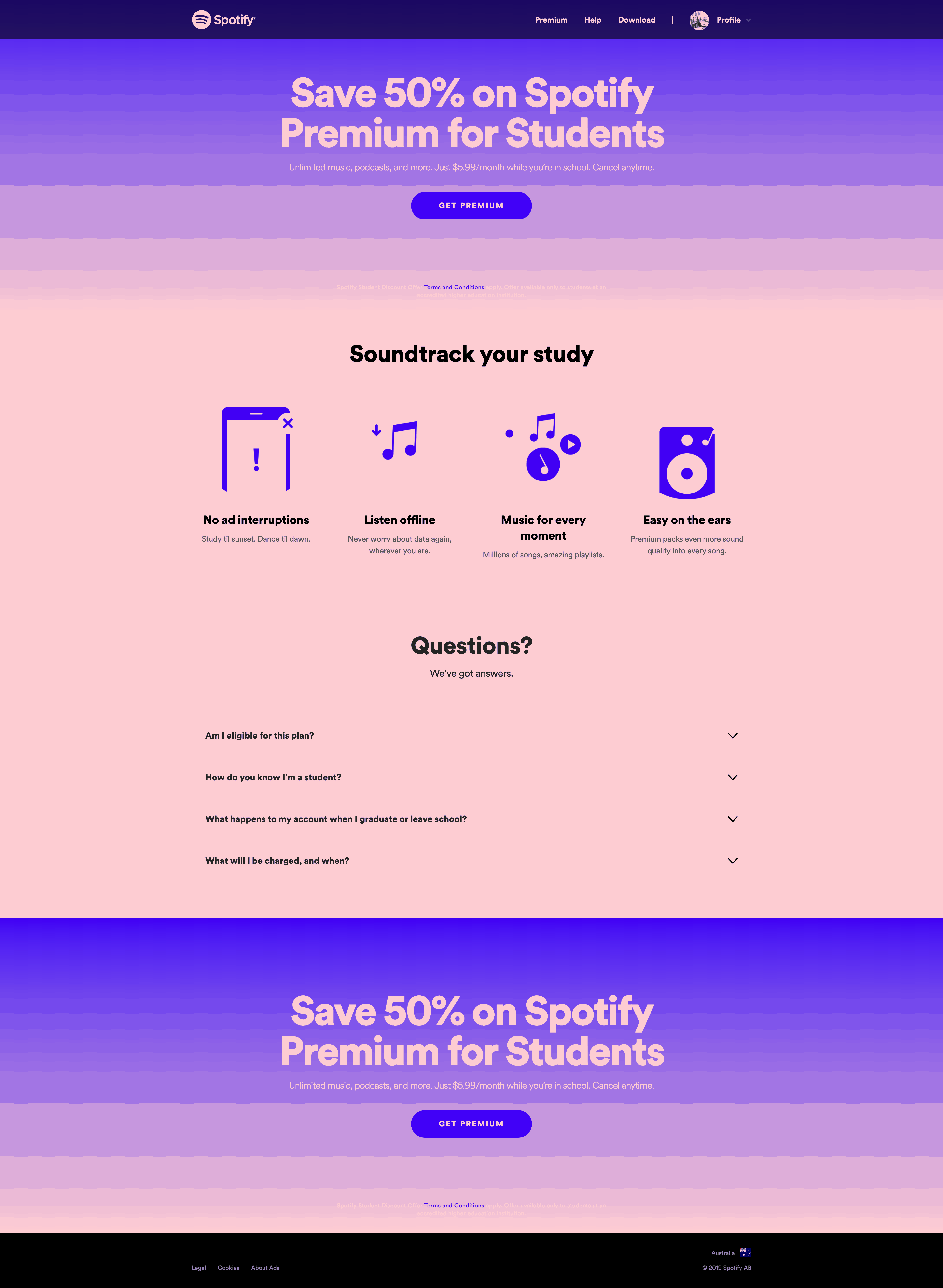 Spotify Premium for Students by Spotify Advertising Web  - UI Garage - The database of UI
