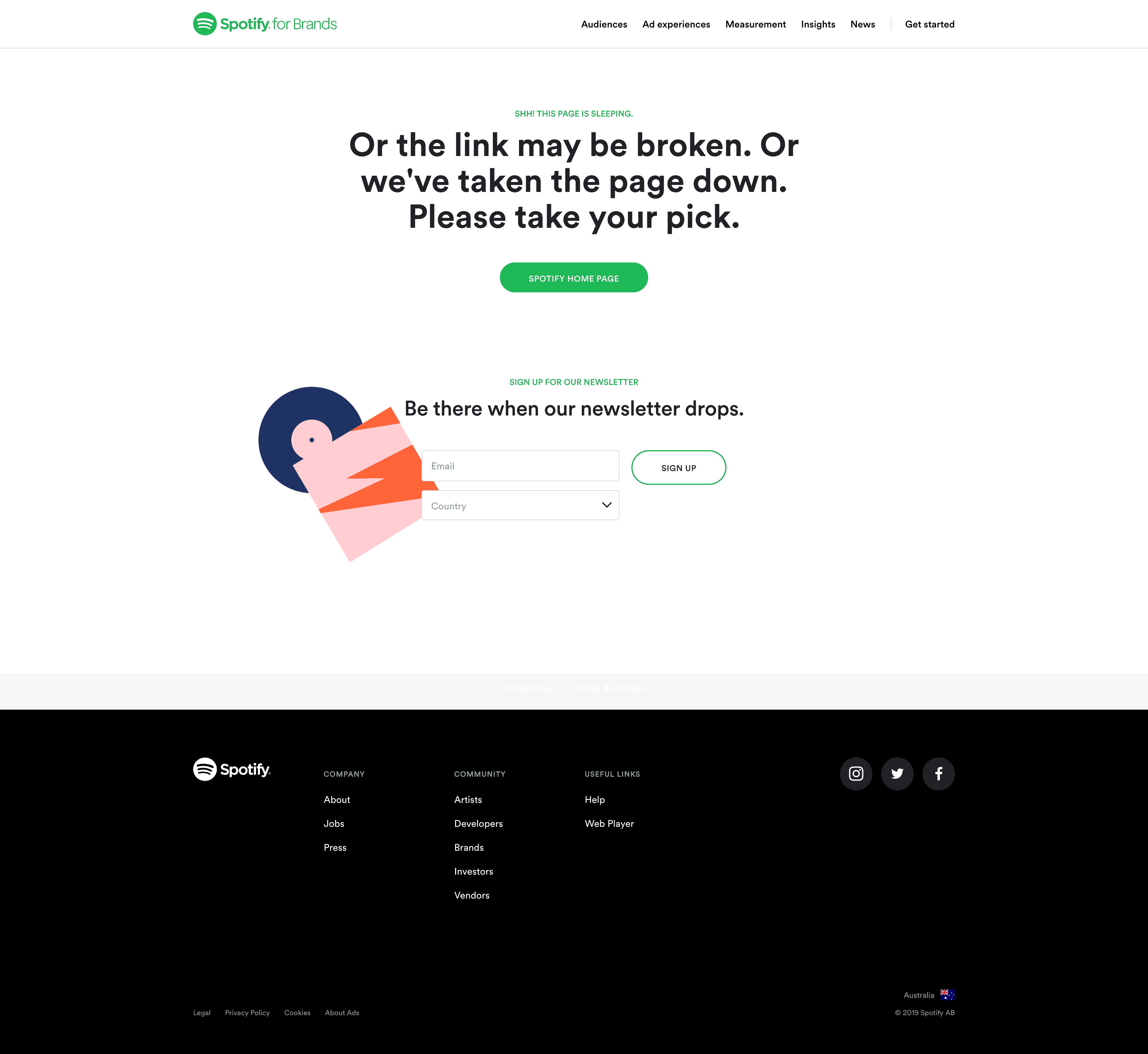 404 Error Page by Spotify for Brands