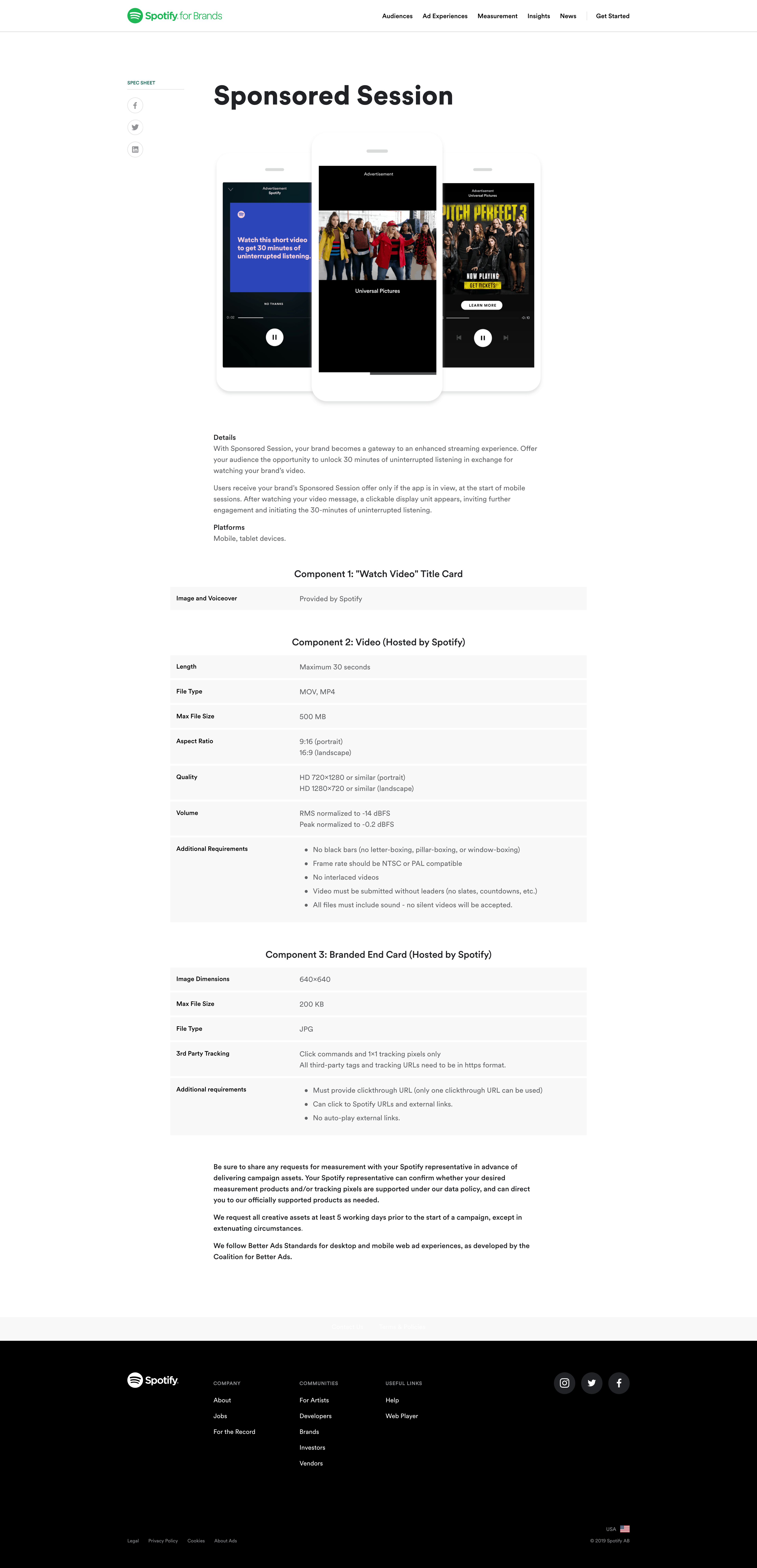 Sponsored Session Spec Sheet by Spotify for Brands from UIGarage