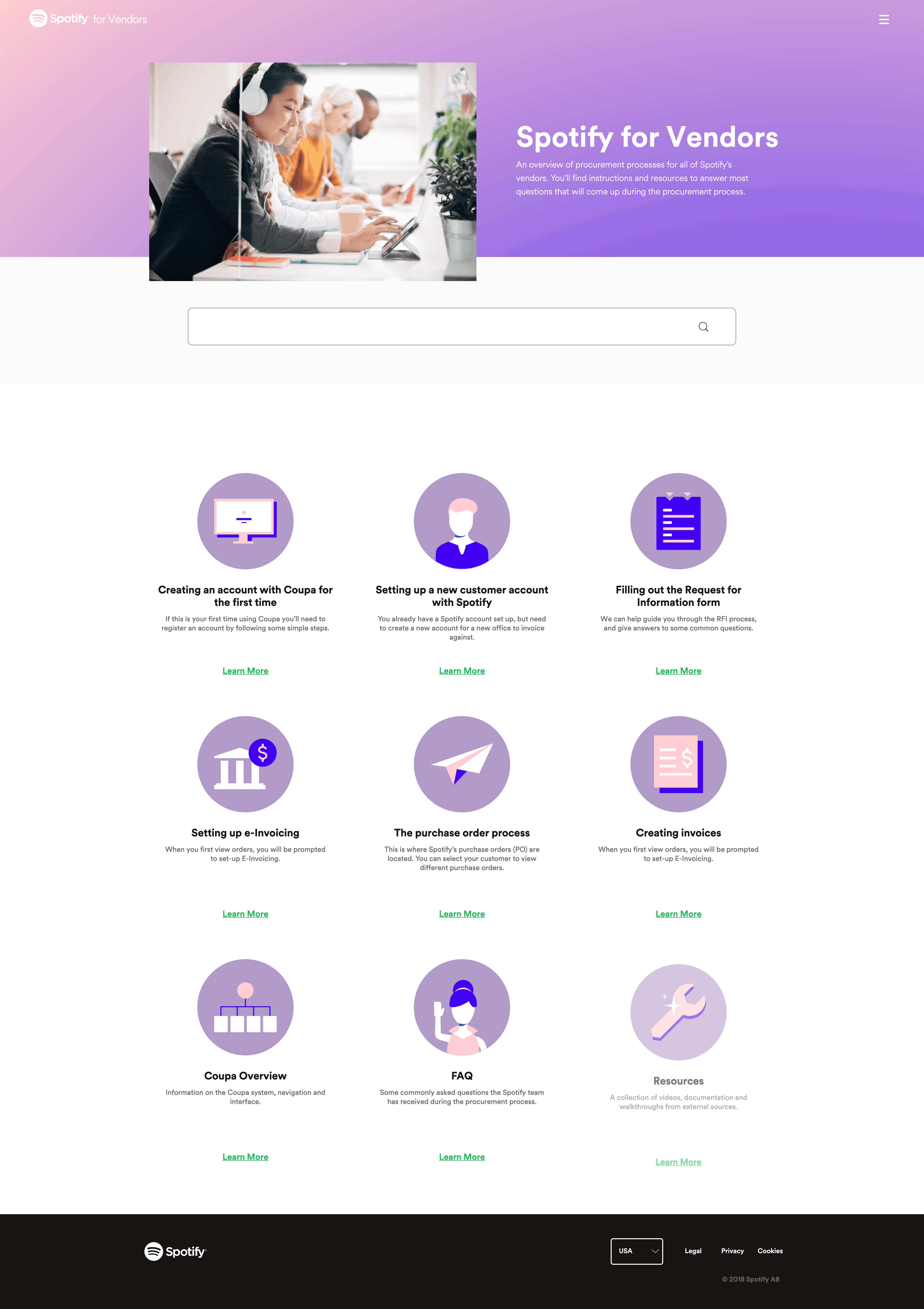 Homepage by Spotify for Vendors