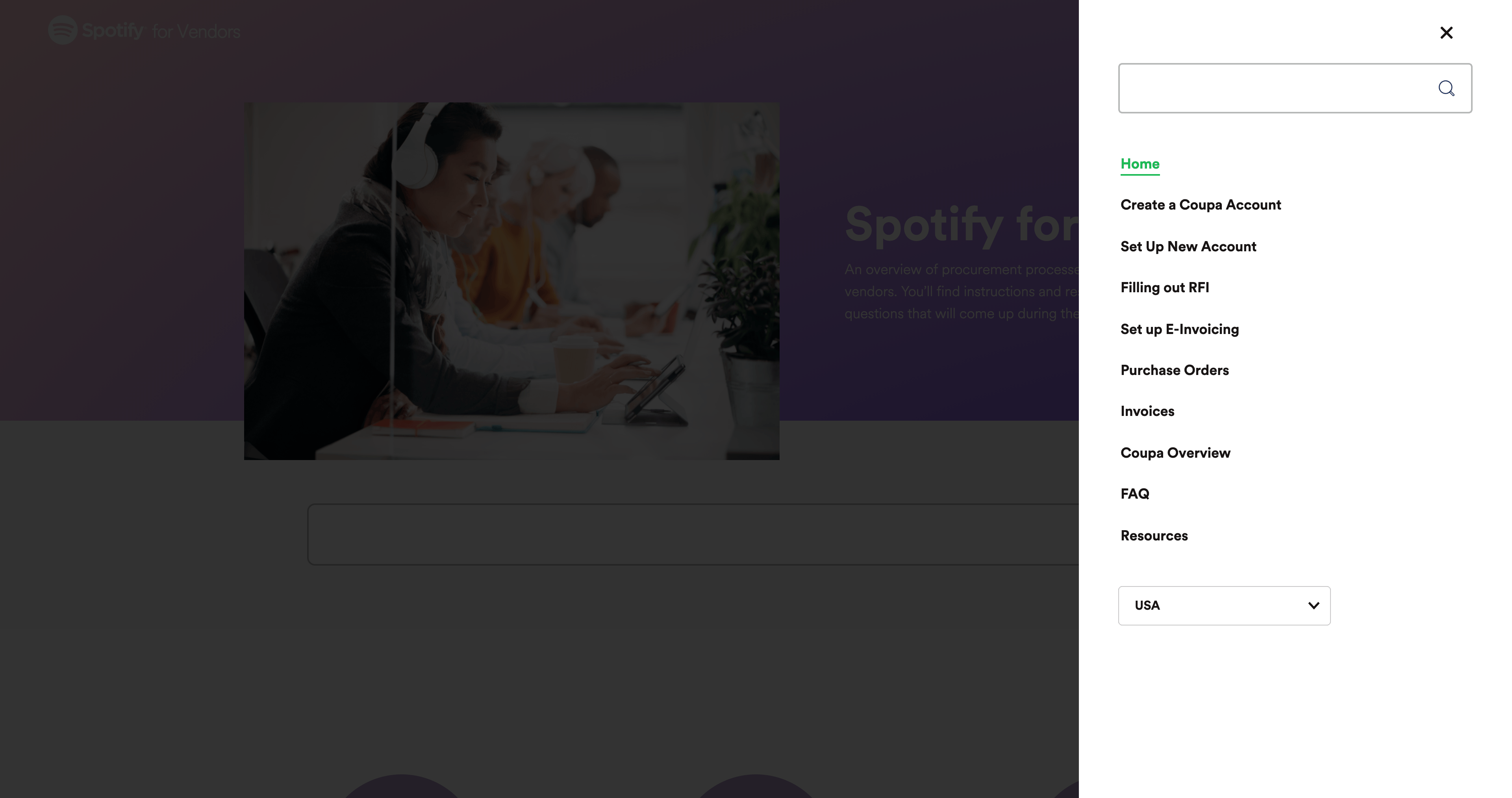 Sidebar Menu by Spotify for Vendors from UIGarage