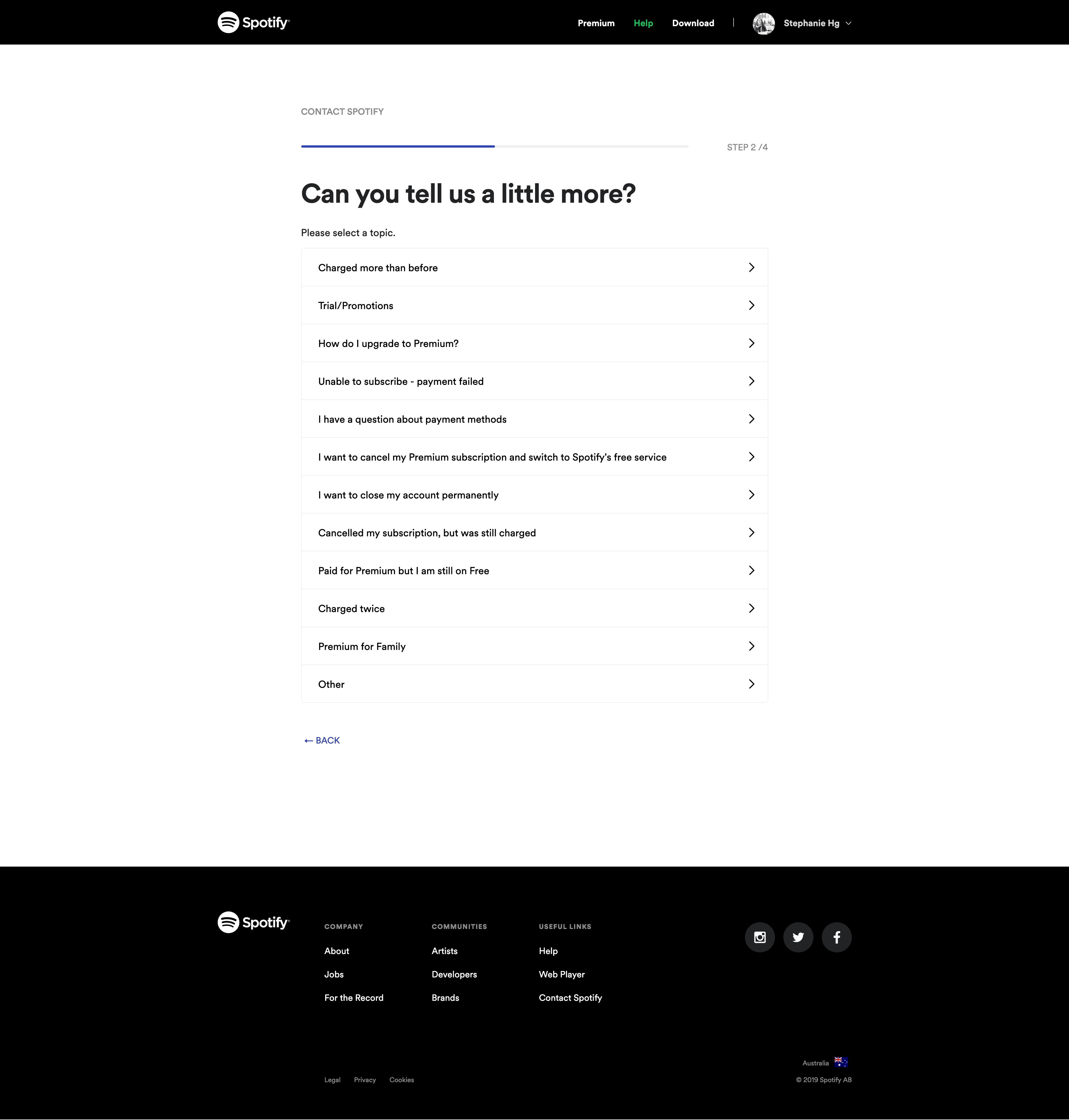 Help Center (step 2) by Spotify