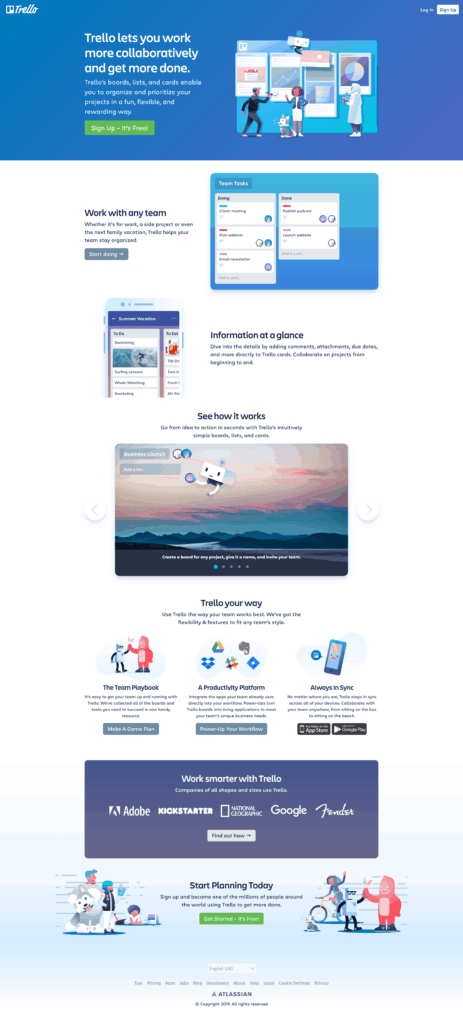 Home Page by Trello from UIGarage