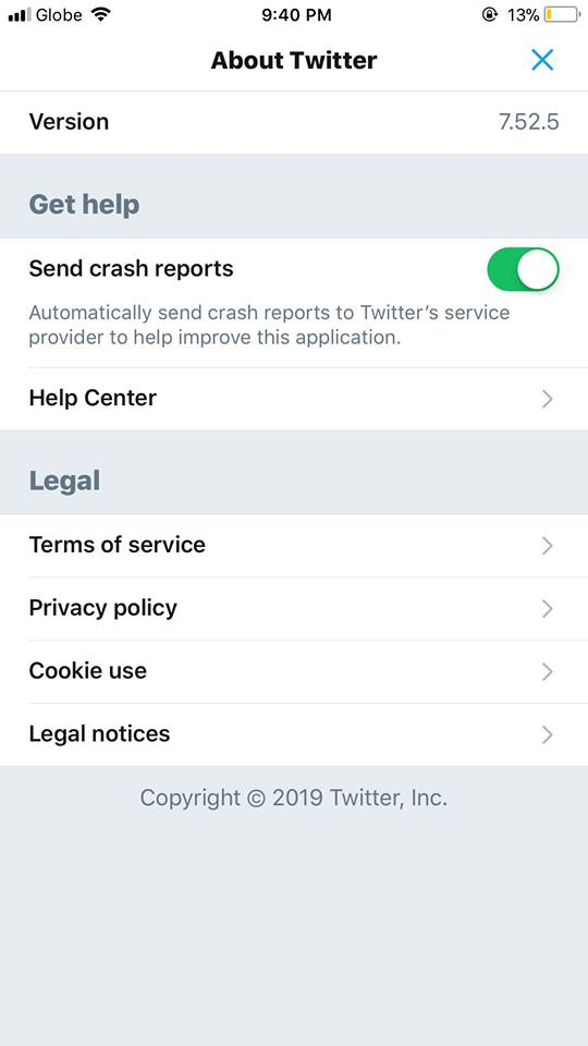 About Twitter on iOS by Twitter 2019