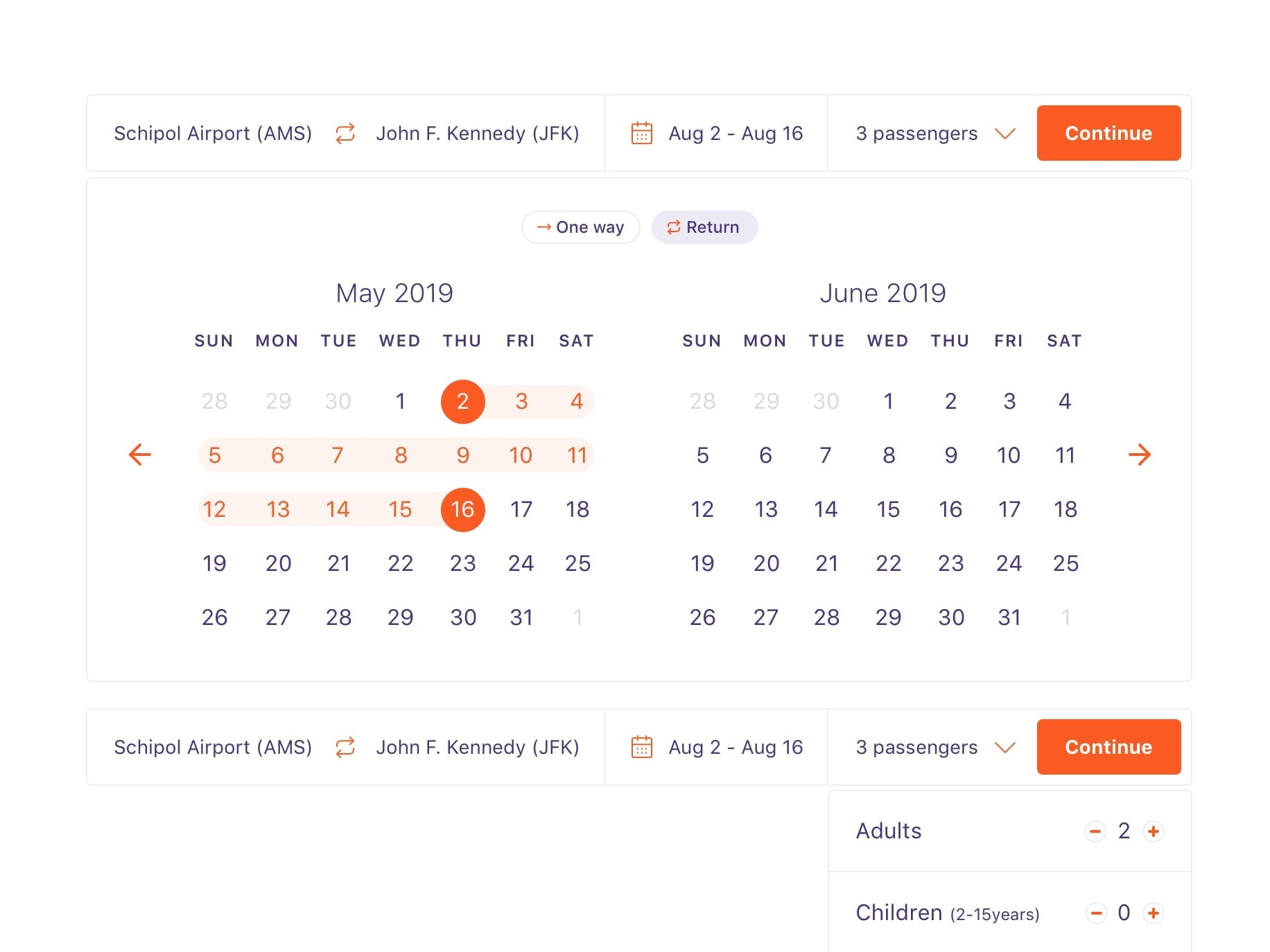 Airline Datepicker on Desktop