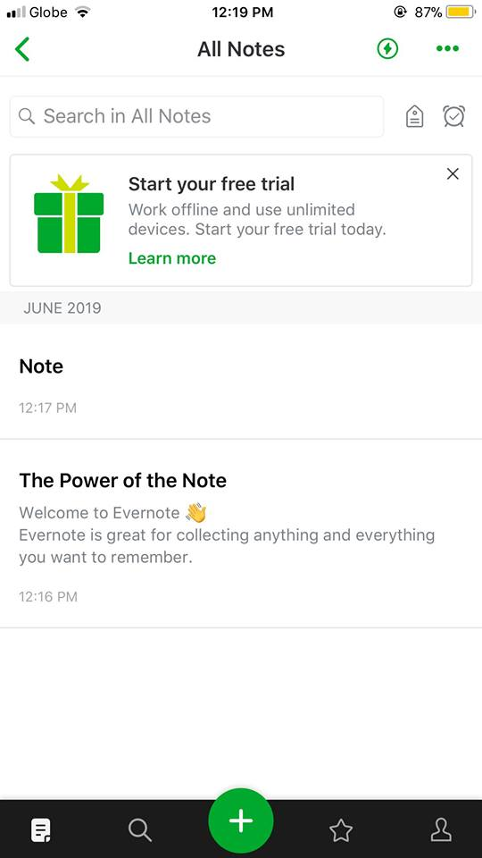 All Notes on iOS by Evernote