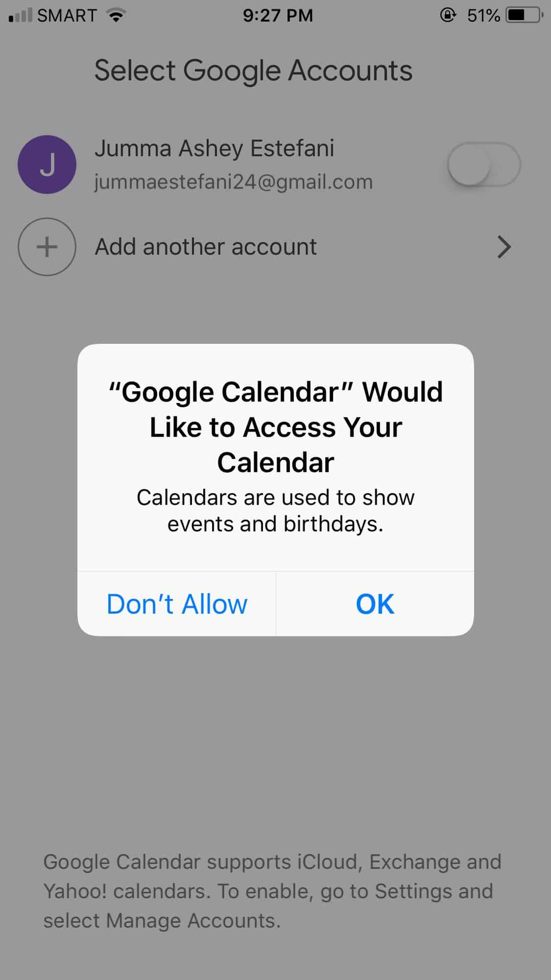 Ask Permission on iOS by Google Calendar