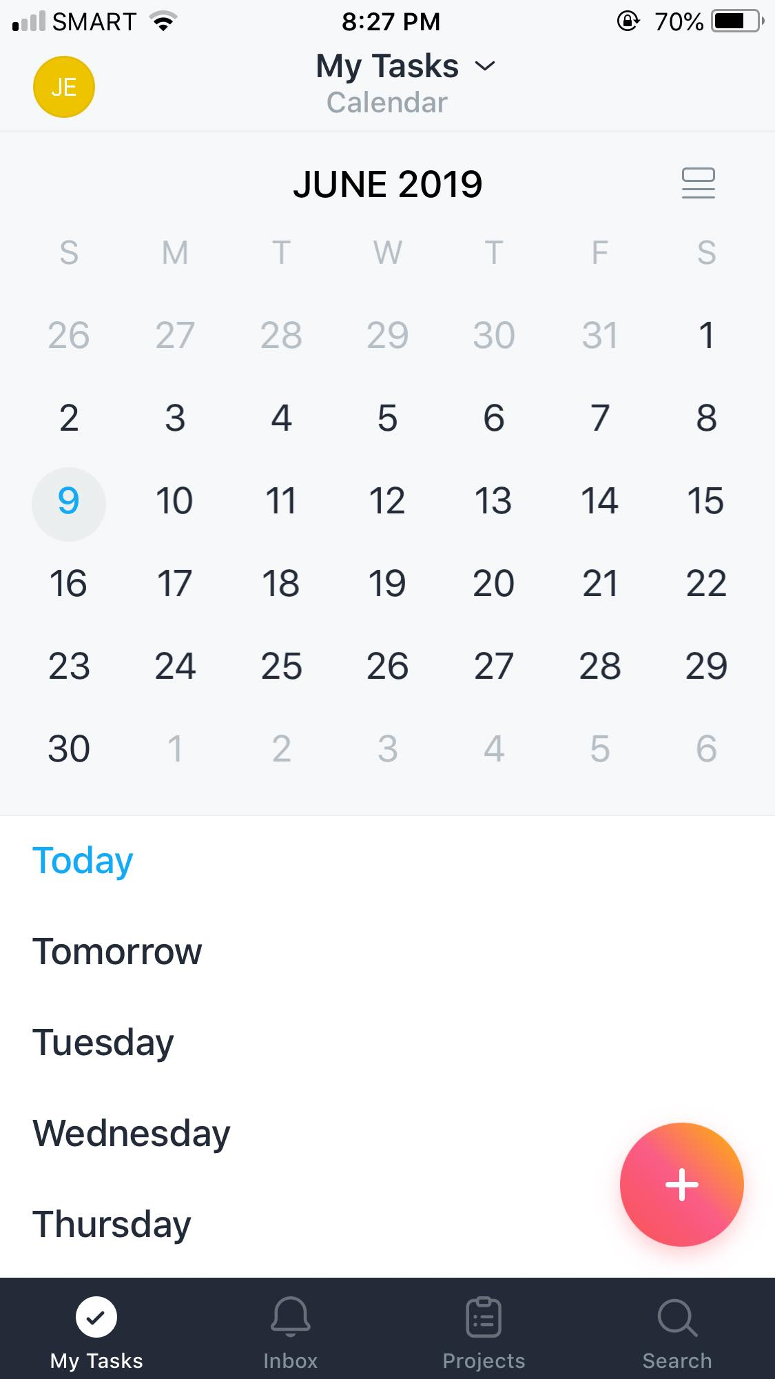 Calendar on iOS by Asana