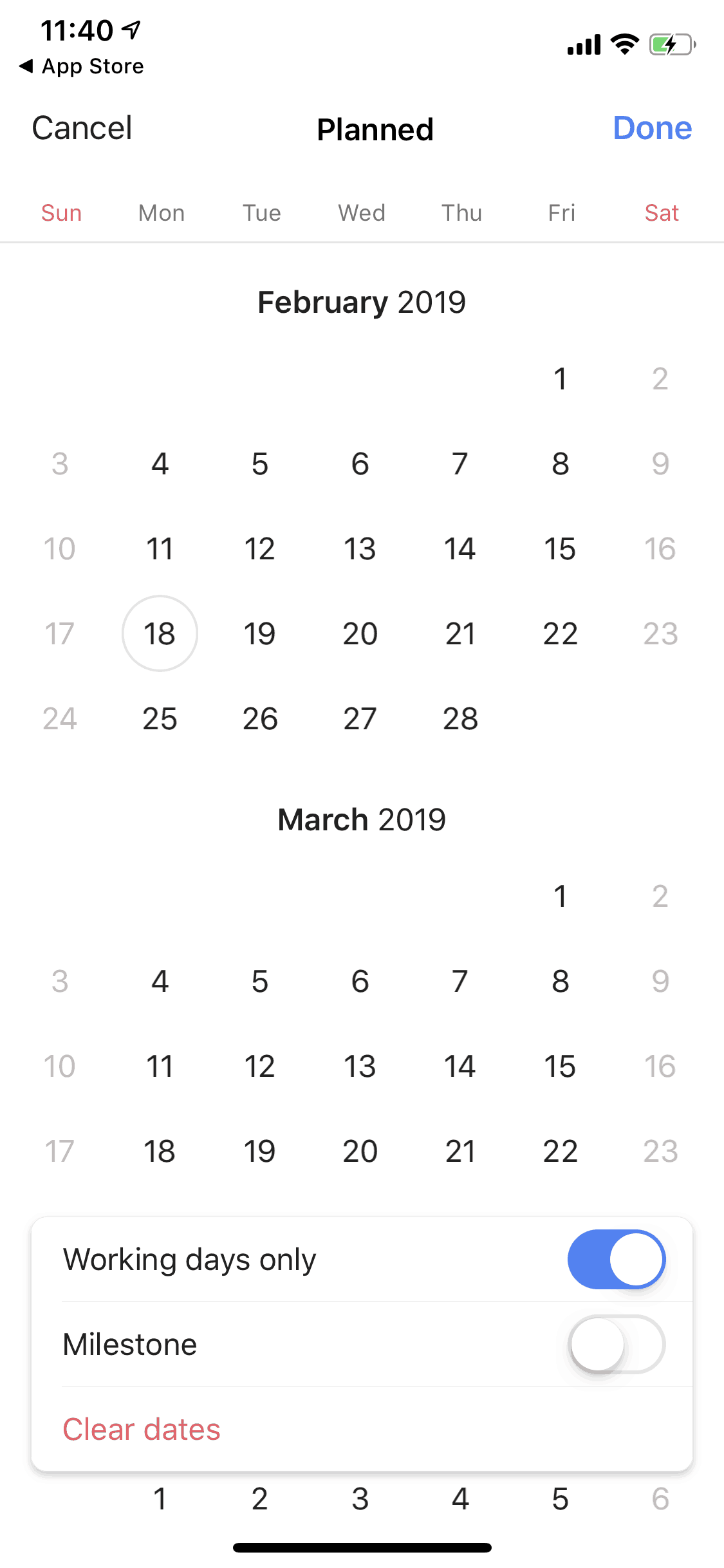 Calendar on iOS by Wrike