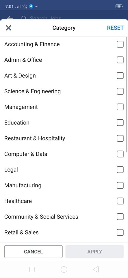 Category on Jobs on Android by Facebook