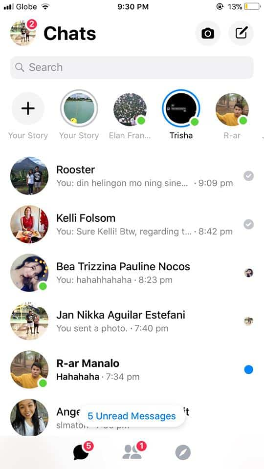 Chats on iOS by Facebook Messenger 2019