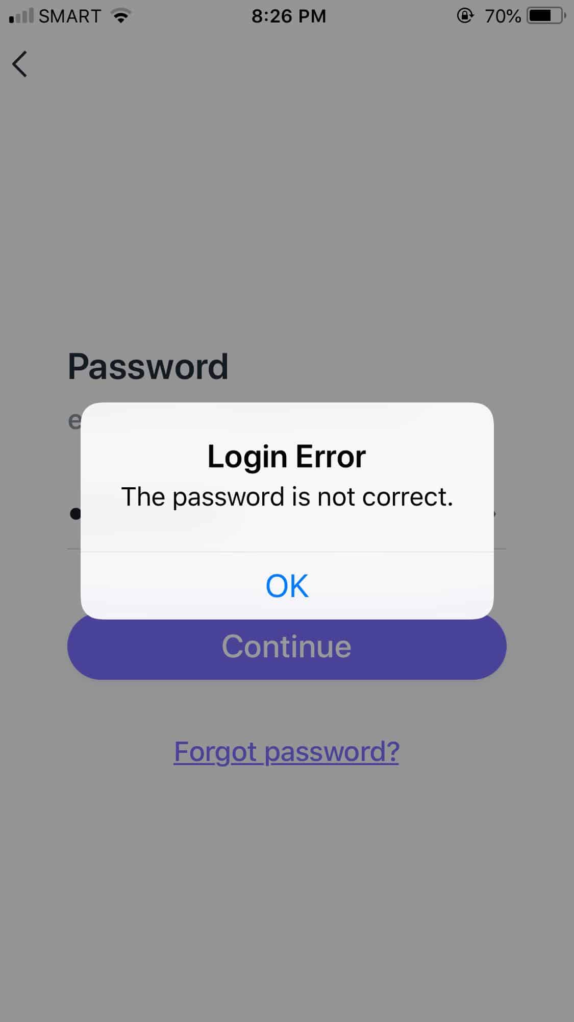 Login Error on iOS by Asana from UIGarage