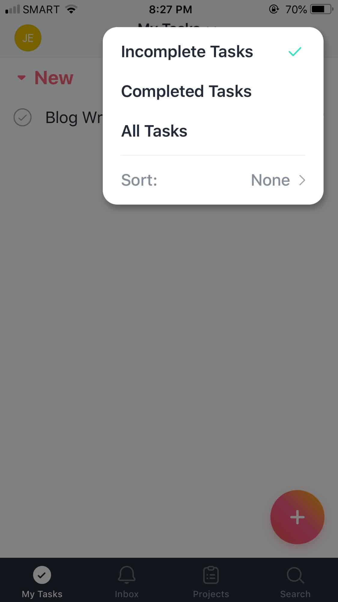 Filter on iOS by Asana from UIGarage