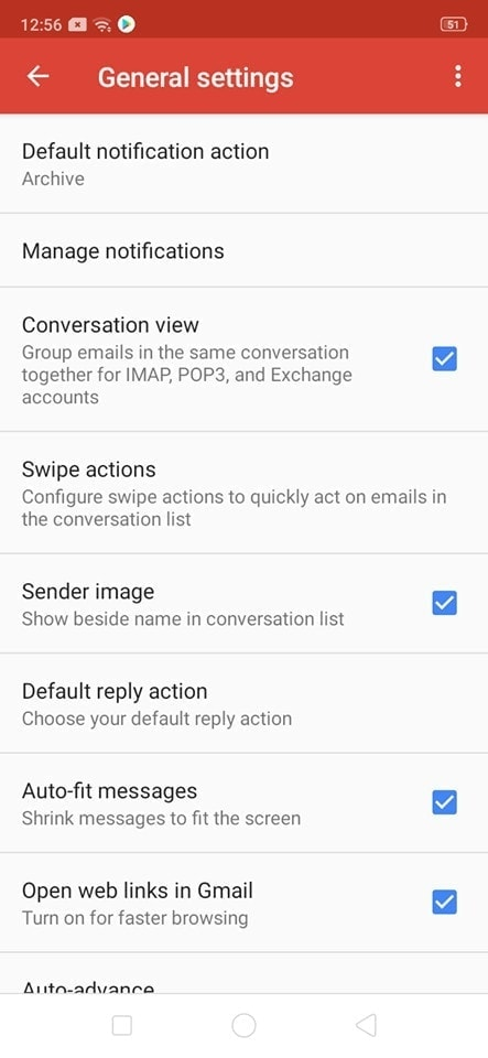 General Settings on Android by Gmail